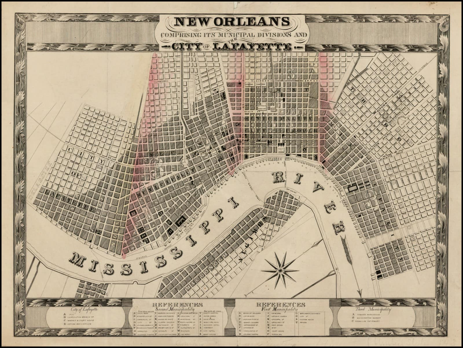 Antique New Orleans Map.A Very Rare Possibly Unrecorded Plan Of New Orleans Rare