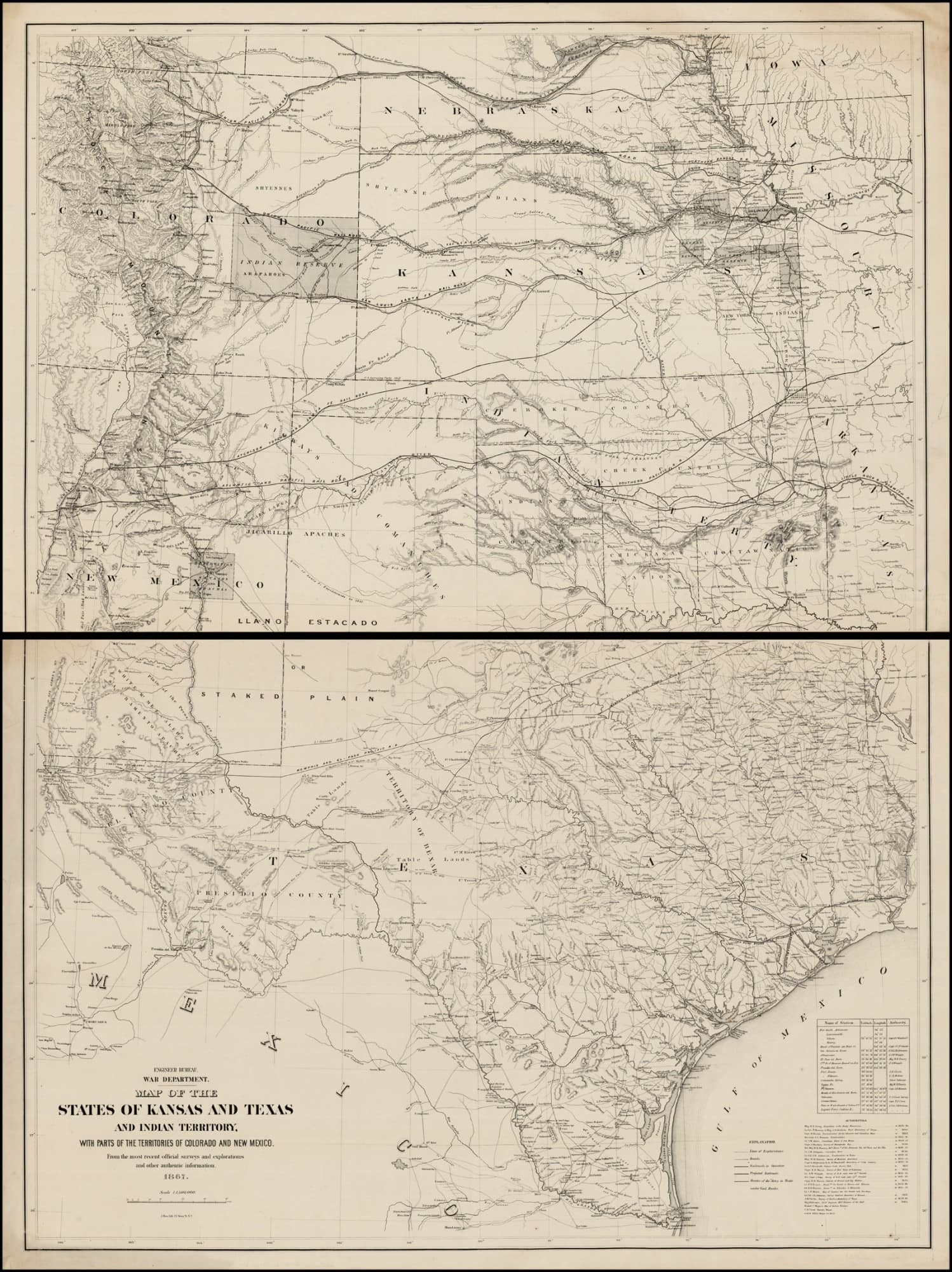 Map Of Texas New Mexico And Colorado.A Remarkable War Department Map Of Texas Rare Antique Maps