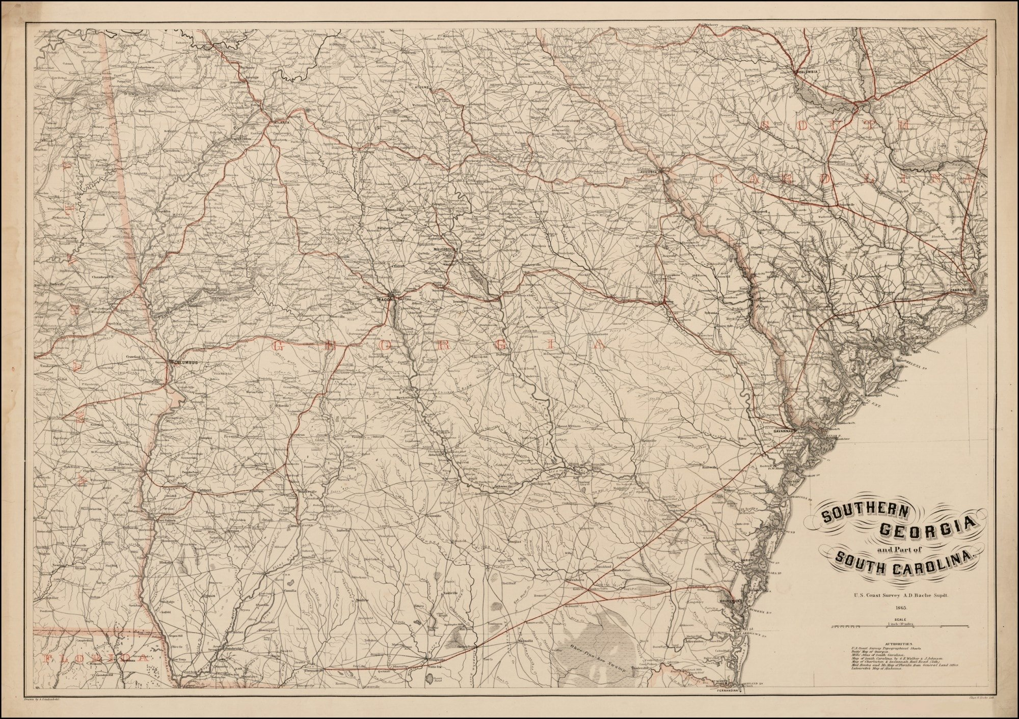 Exceptional map of Georgia and South Carolina, prepared for ...