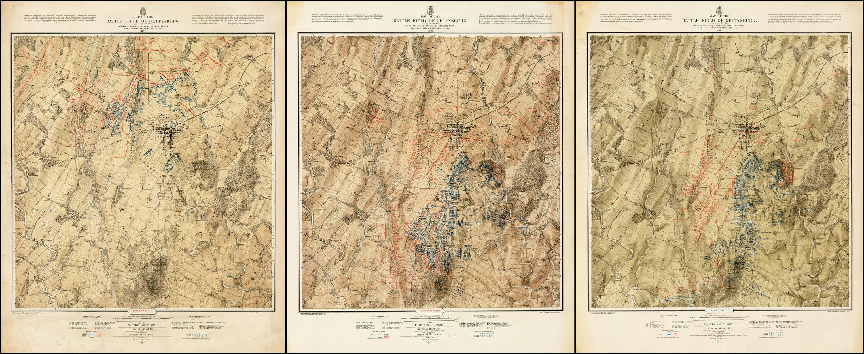 Bachelders monumental plan of the Battle of Gettysburg Rare