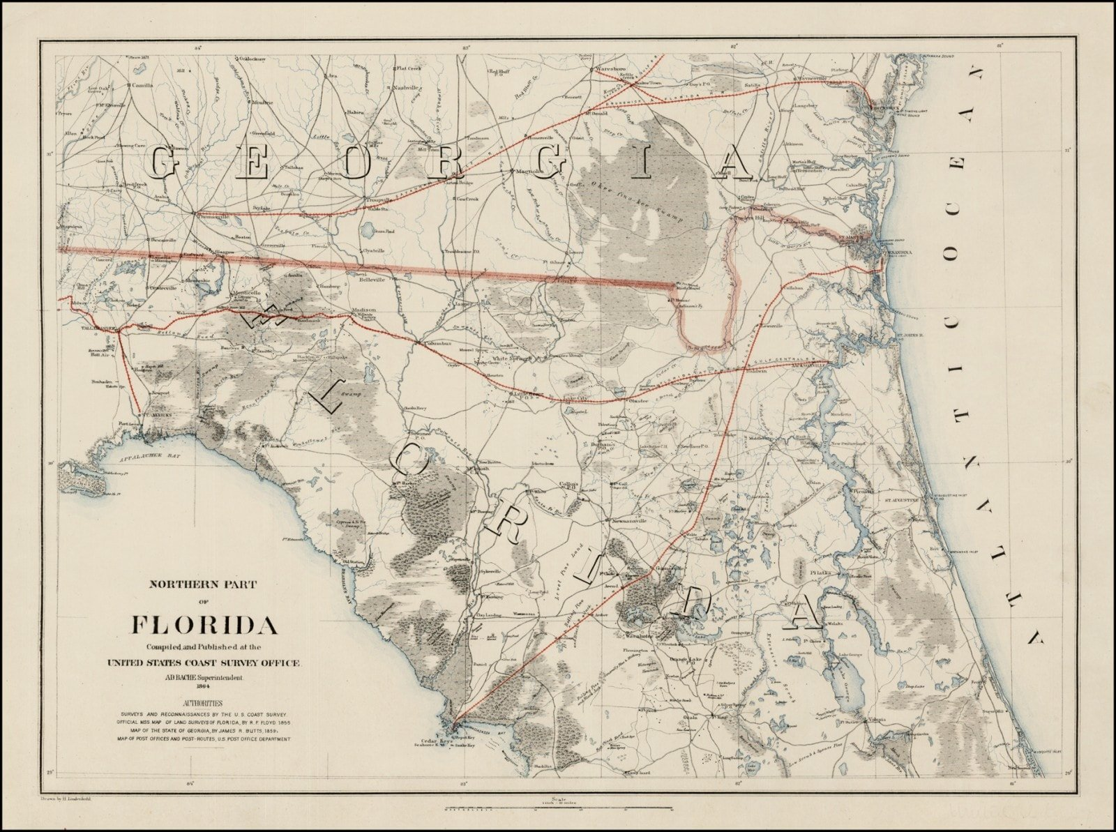 Map Northern Florida.Exceptional Florida Map Prepared For The Union Army Rare Antique