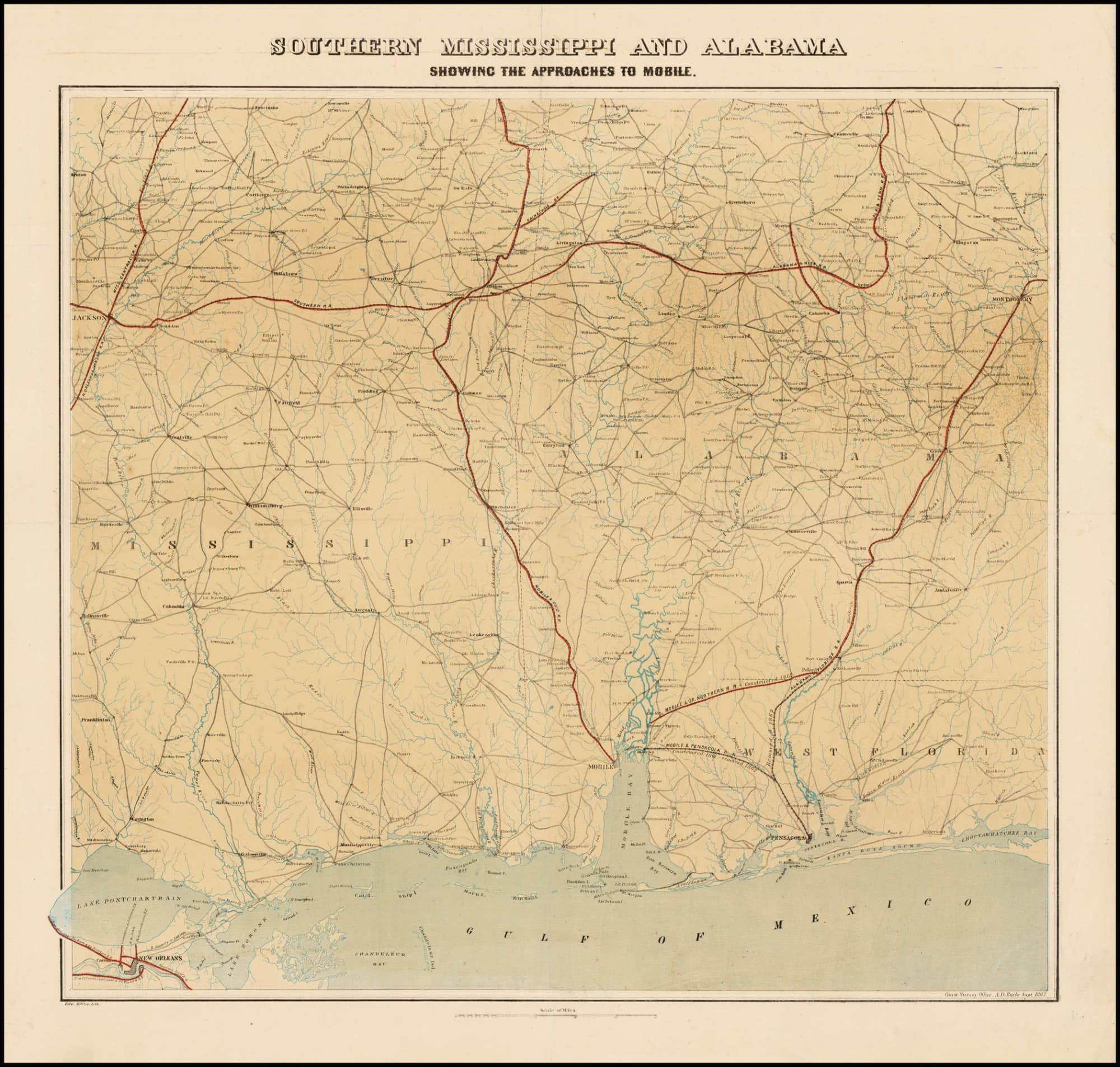 Exceptional Alabama and Mississippi map prepared for the ...