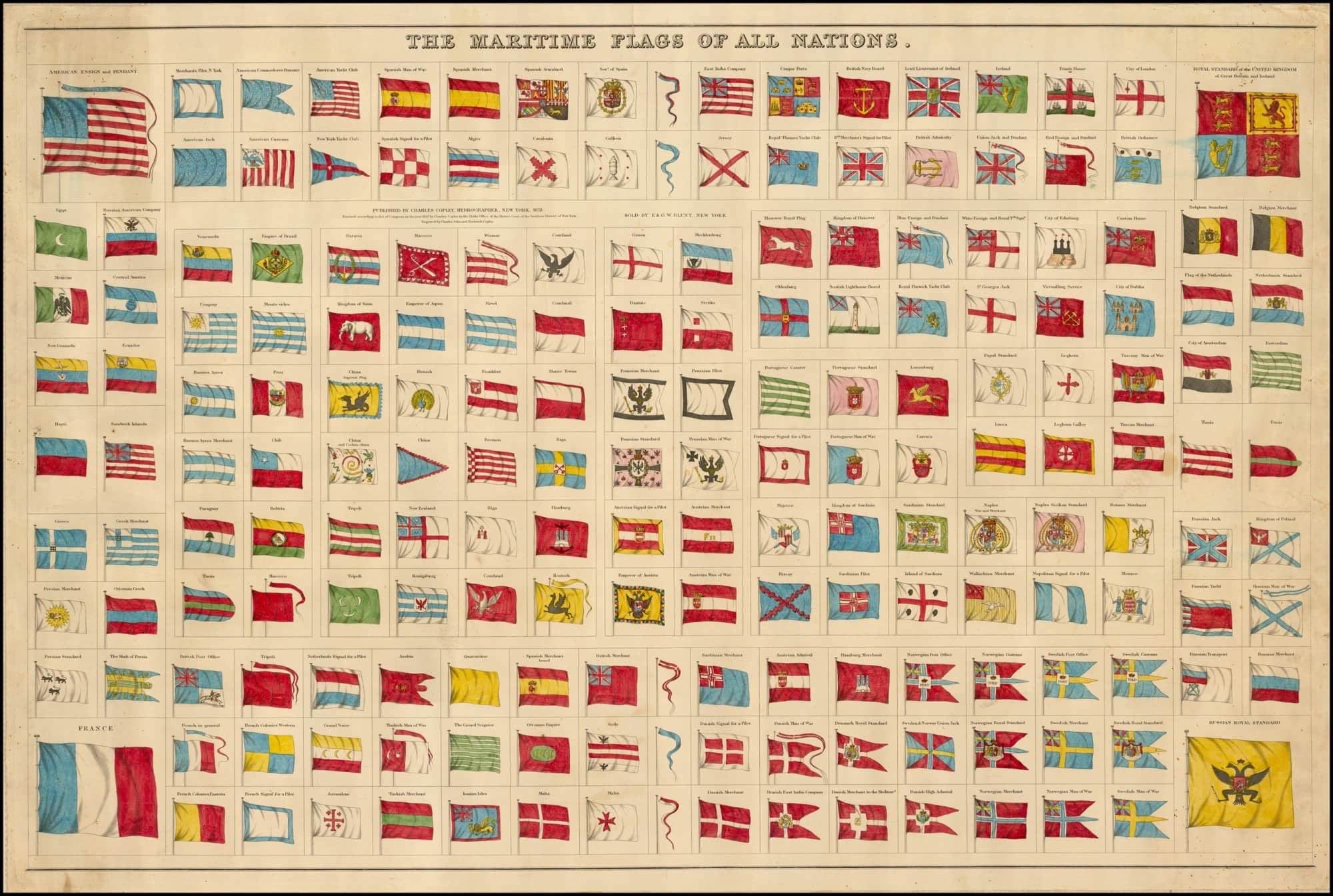 Spectacular chart of maritime flags rare antique maps spectacular chart of maritime flags publicscrutiny Images