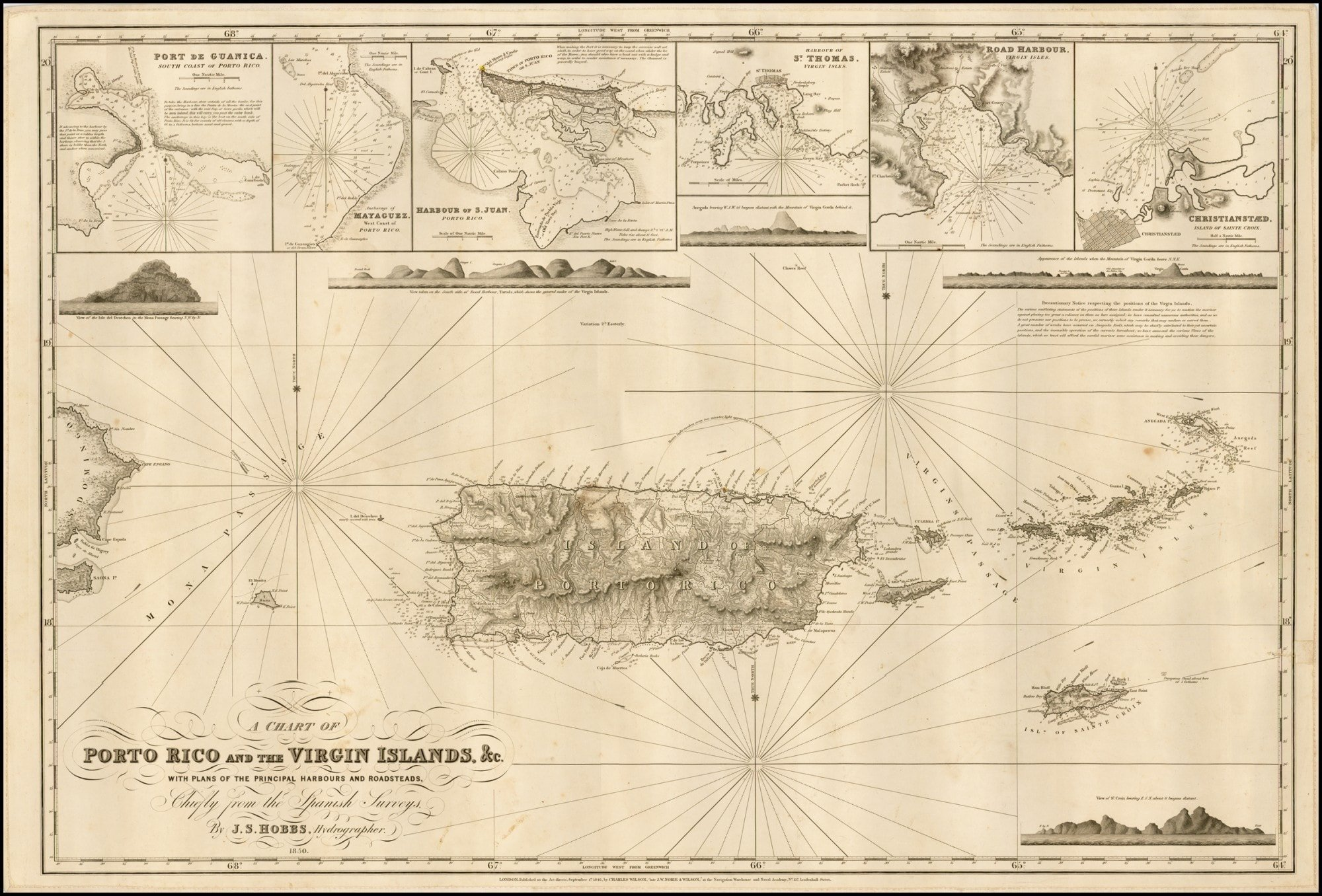 Rare chart of Porto Rico and the Virgin Islands, in remarkable ... on