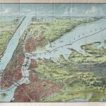 Drawn, printed and published by C.S. Hammond & Co., BIRDS EYE VIEW MAP OF New York and Vicinity [title on wraps: BIRD'S EYE VIEW MAP OF East an North Rivers and Long Island Sound.] New York City, 1909.