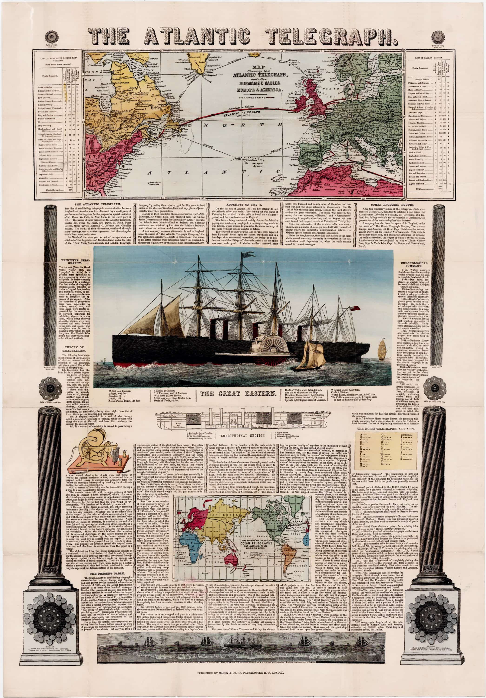 TELEGRAPH GREAT EASTERN SHIP ATLANTIC TELEGRAPH CABLE SHIP ANTIQUE ENGRAVING