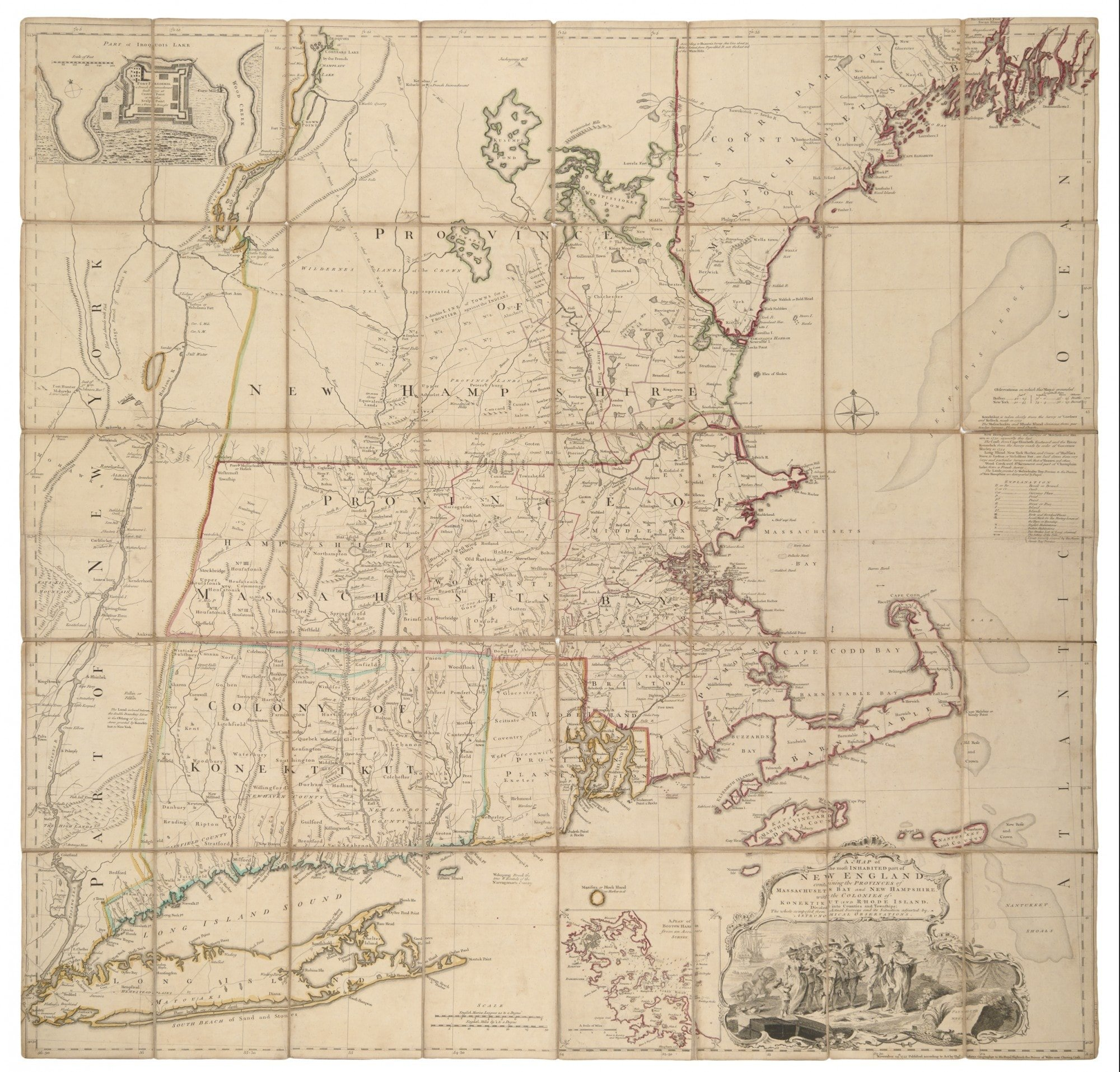 Image of: First State Of The Finest 18th Century Map Of New England Rare Antique Maps