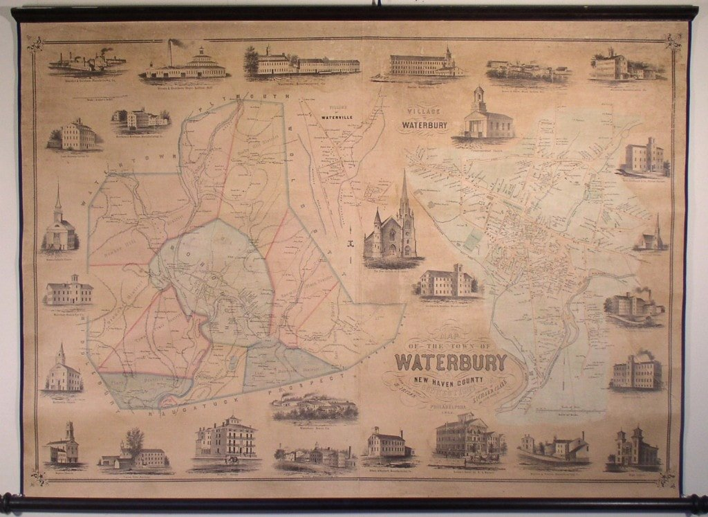 Wall map of Waterbury, CT - Rare & Antique Maps