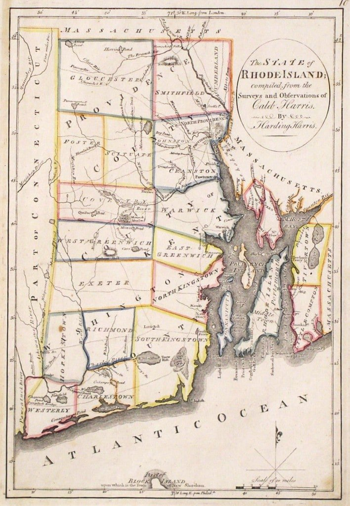 Map Of Rhode Island From The First Atlas Of The United States - Rhode island on us map