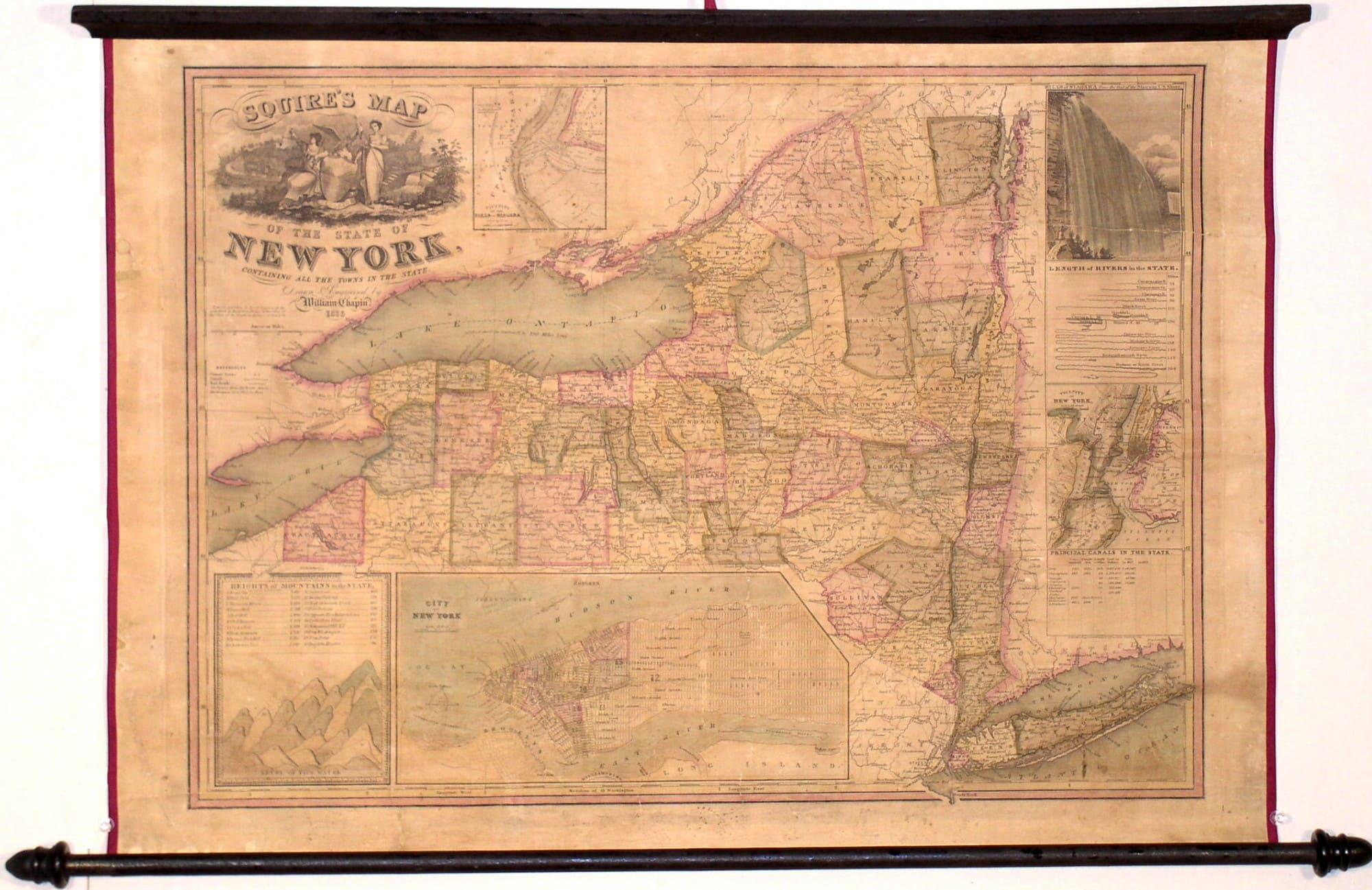 Scarce Wall Map Of New York State Rare Antique Maps