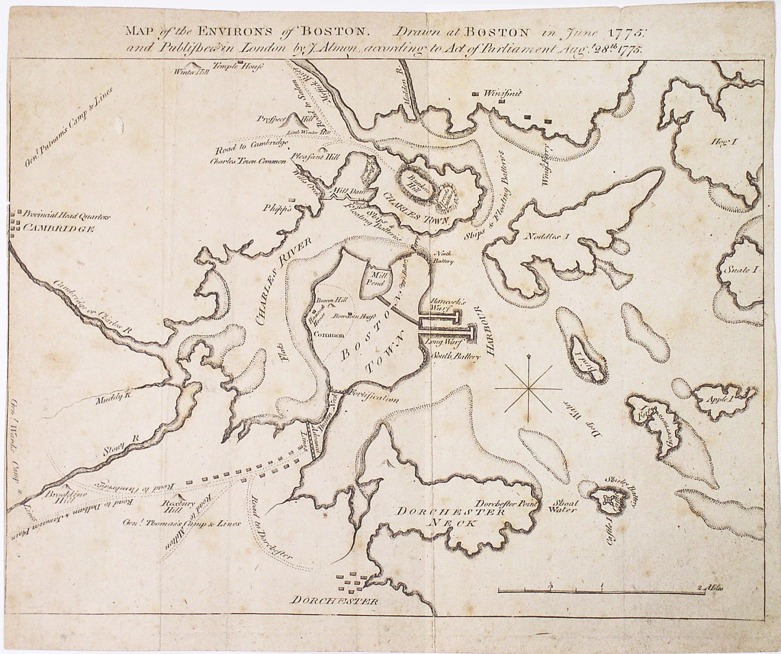 A very early map of the siege of boston rare antique maps a very early map of the siege of boston publicscrutiny Images