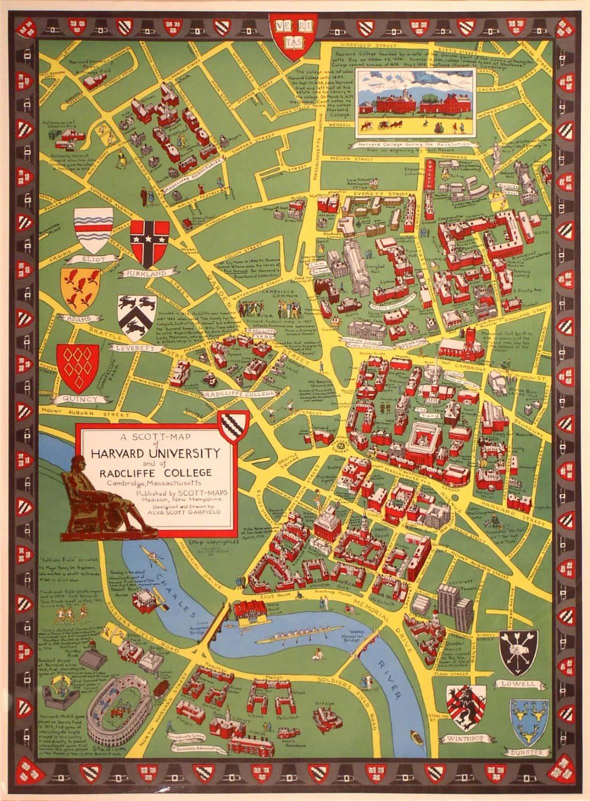 1959 Alva Scott Garfield pictorial map of Harvard - Rare ... Map Of Al Va on sf va map, sw va map, co va map, ky va map, dc va map, no va map,