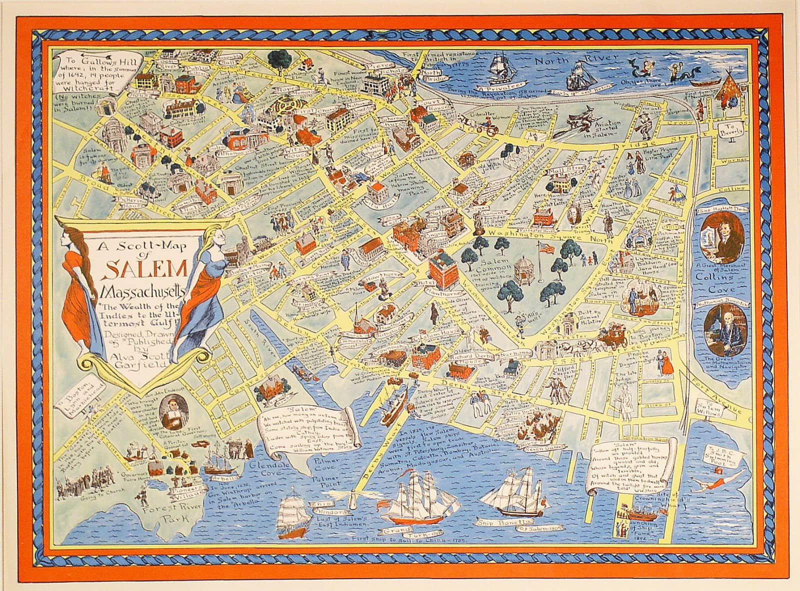 Map Of Salem Ma A vivid pictorial map of Salem, Mass.   Rare & Antique Maps