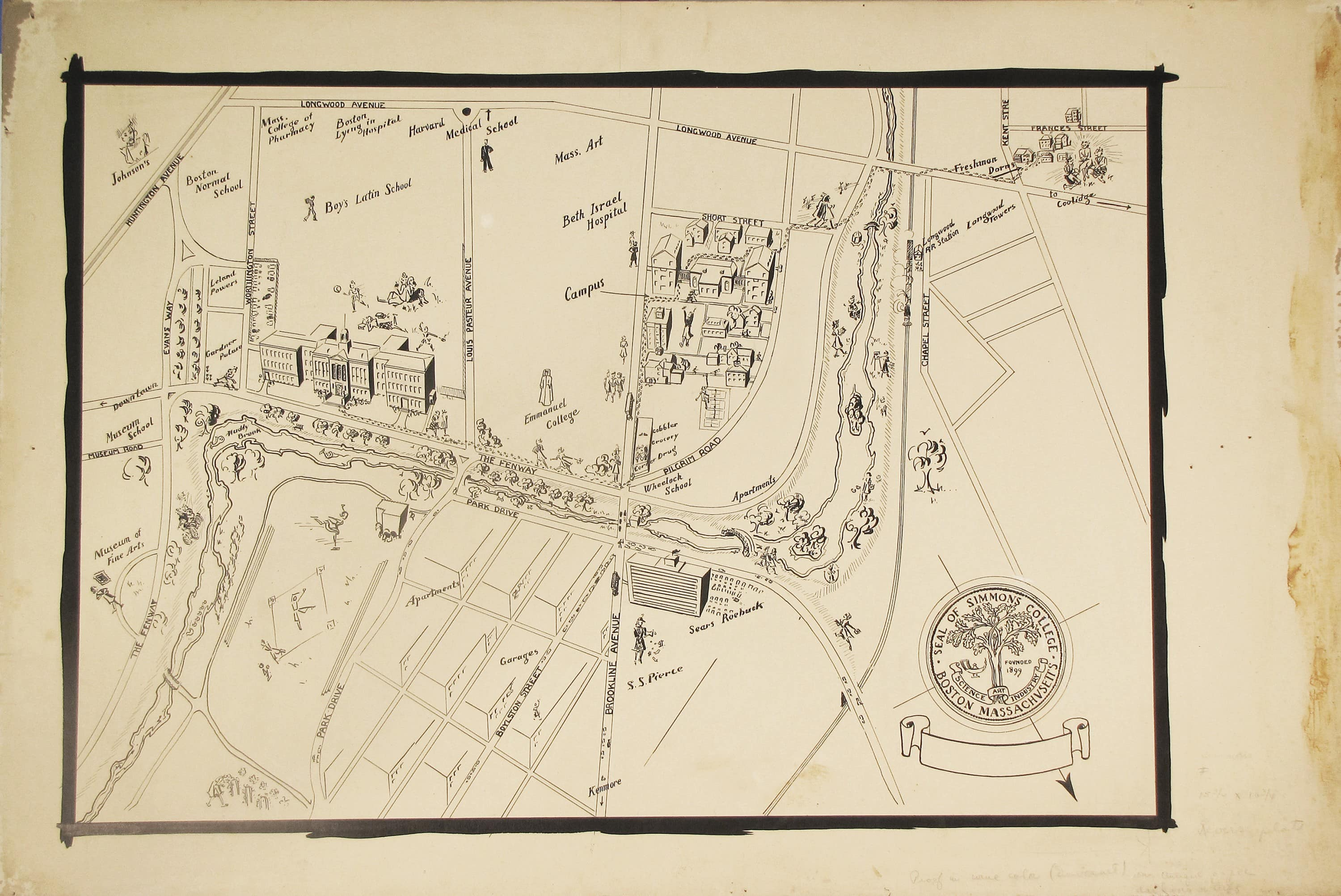 Pre Press Pen And Ink Map Of Simmons College Rare Antique Maps