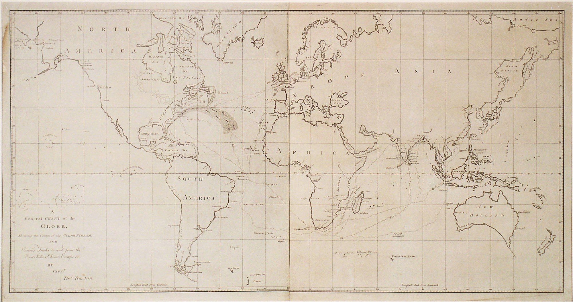 A Rare 18th Century American World Map With A Ben Franklin