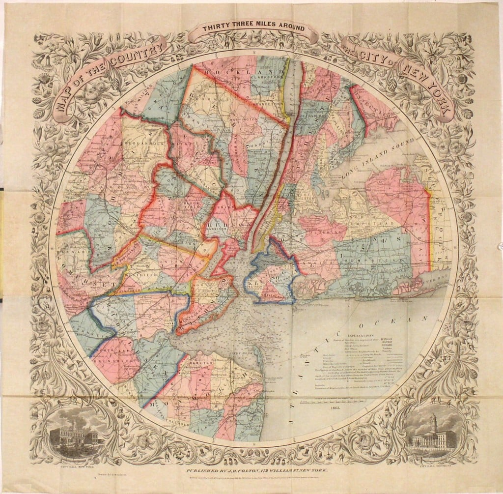 One Of The Most Attractive Thcentury Maps Of New York City Rare - Antique maps nyc