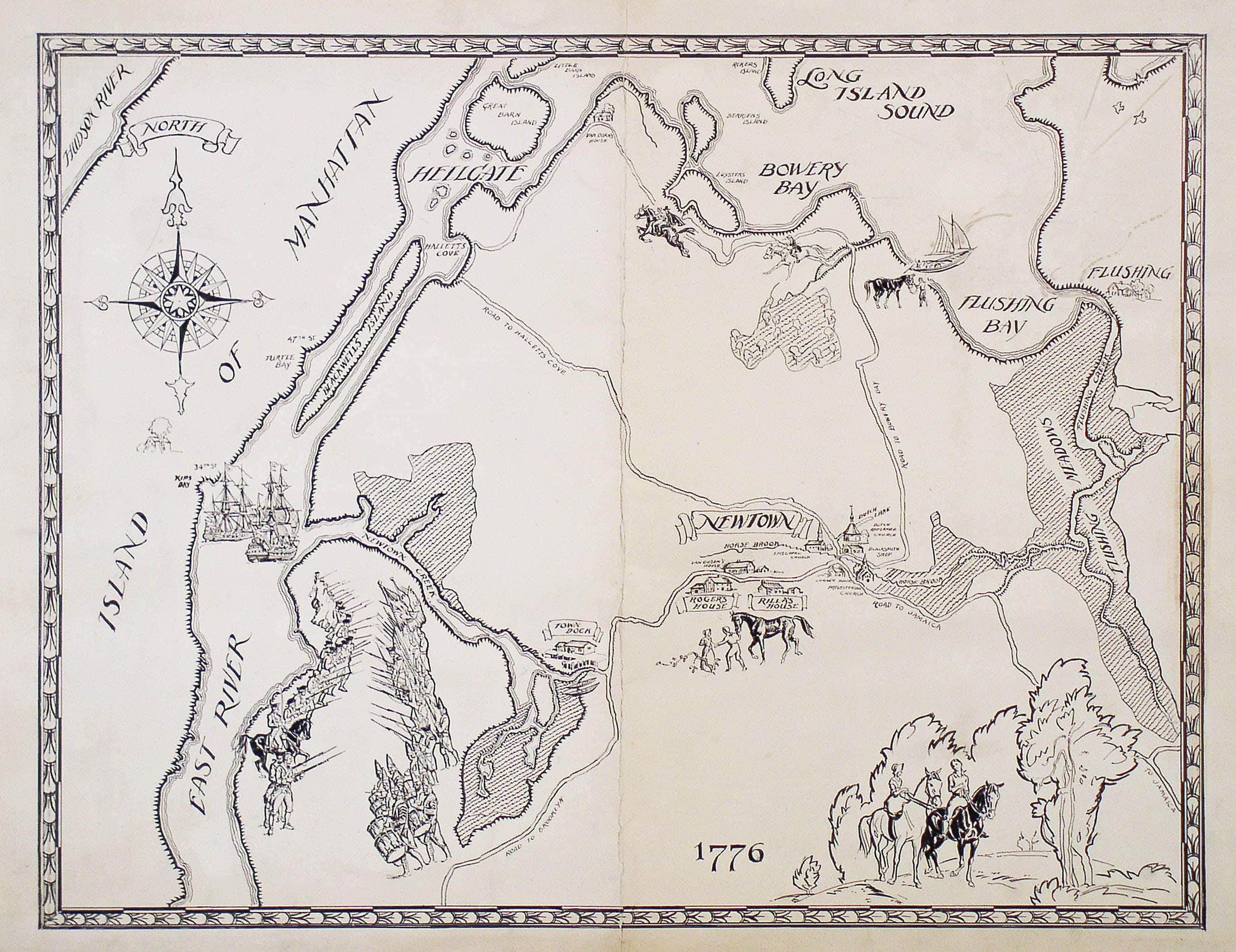 Manuscript Pictorial Map Of Queens  Ny