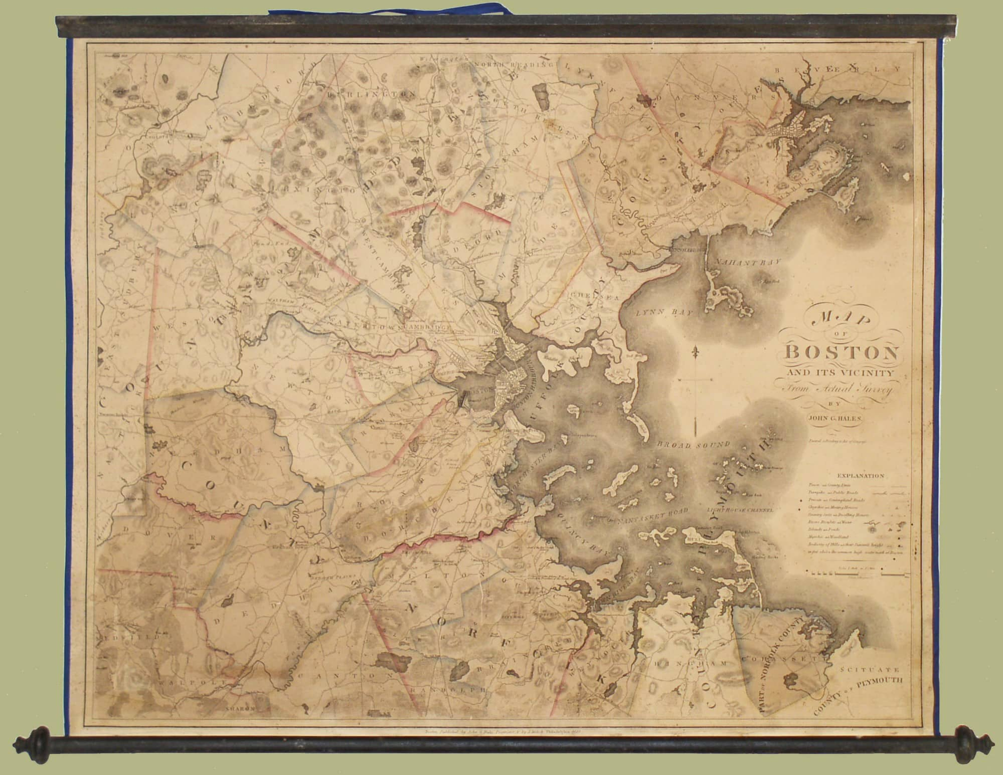 Superb Map Of The Boston Area By John G Hales Rare  Antique Maps - Map of boston vicinity