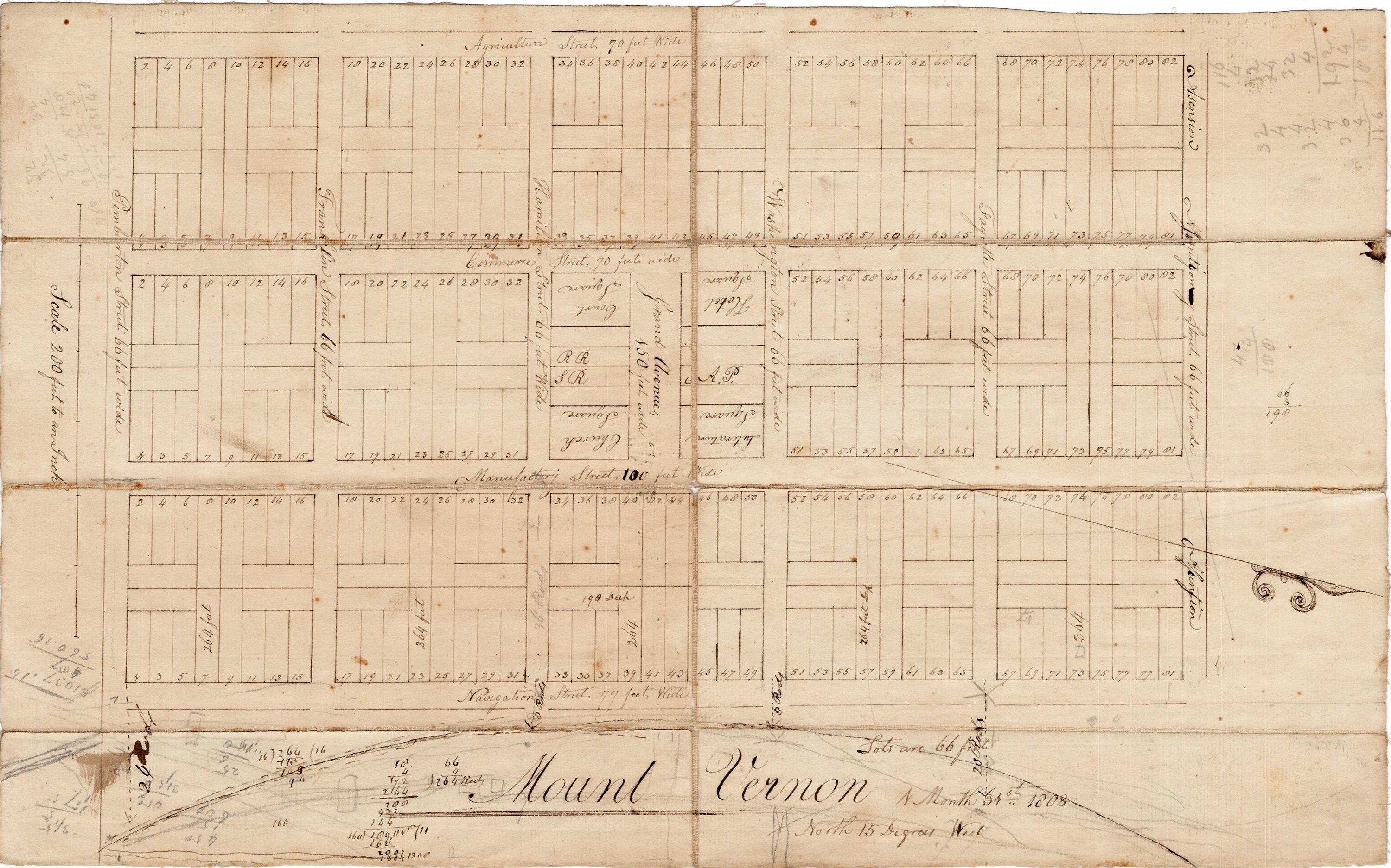 Map Of Northern New York.Manuscript Plat Of A Ghost Town In Upstate New York Rare