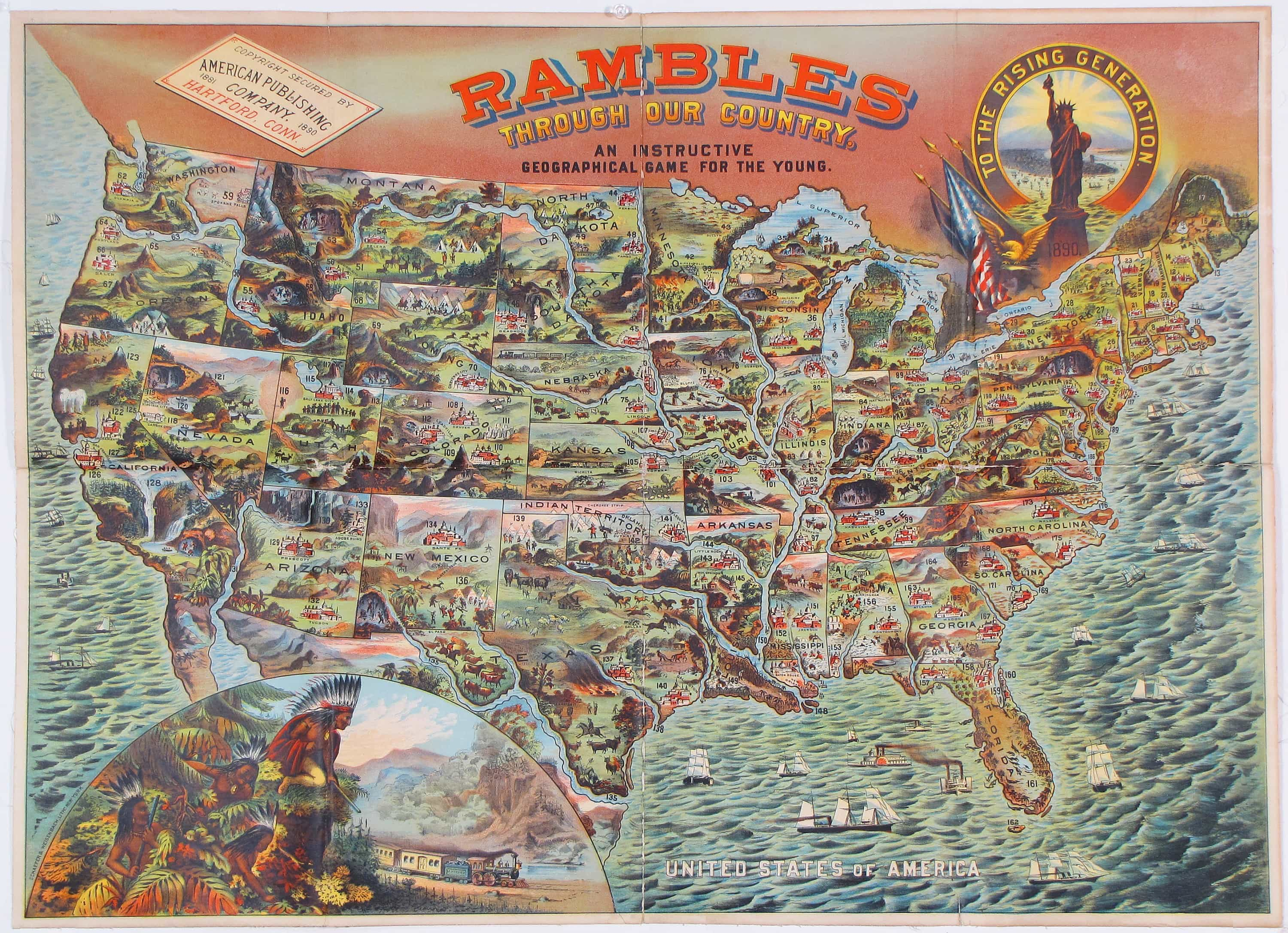 A spectacular chromolithographic map of the United States ...
