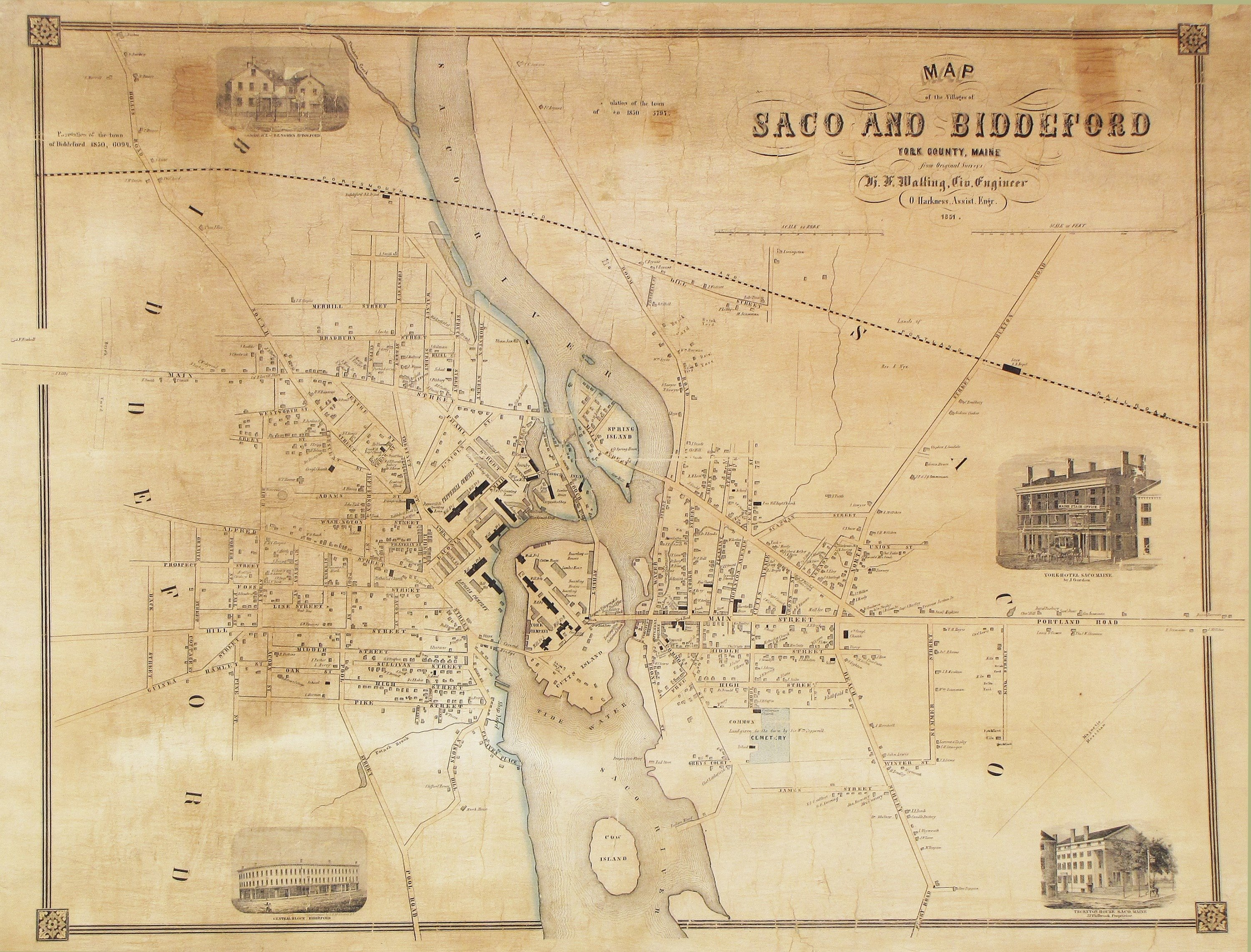 Rare H F Walling Map Of Saco And Biddeford Maine Rare Antique