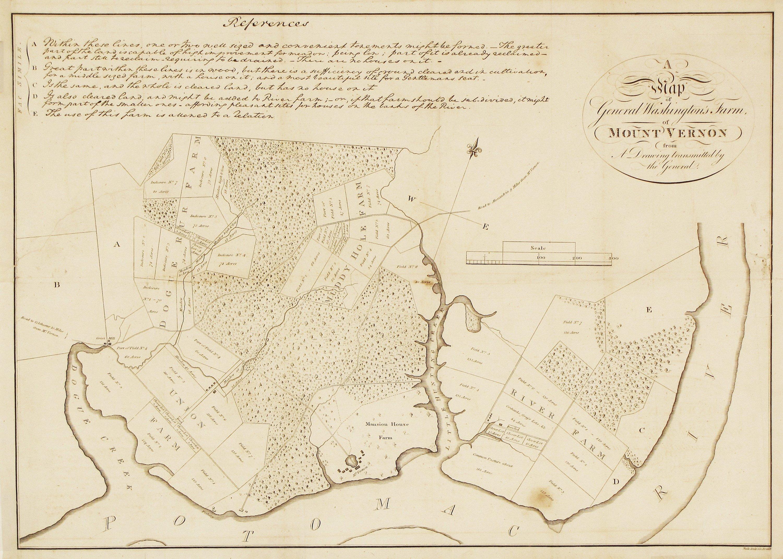 Mt Vernon Washington Map.With A Map Of Mount Vernon By Washington Himself Rare Antique Maps