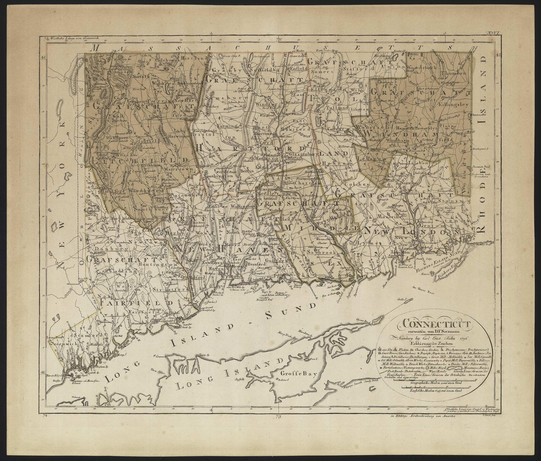 Antique Boston Map.The Sotzmann Map Of Connecticut Rare Antique Maps