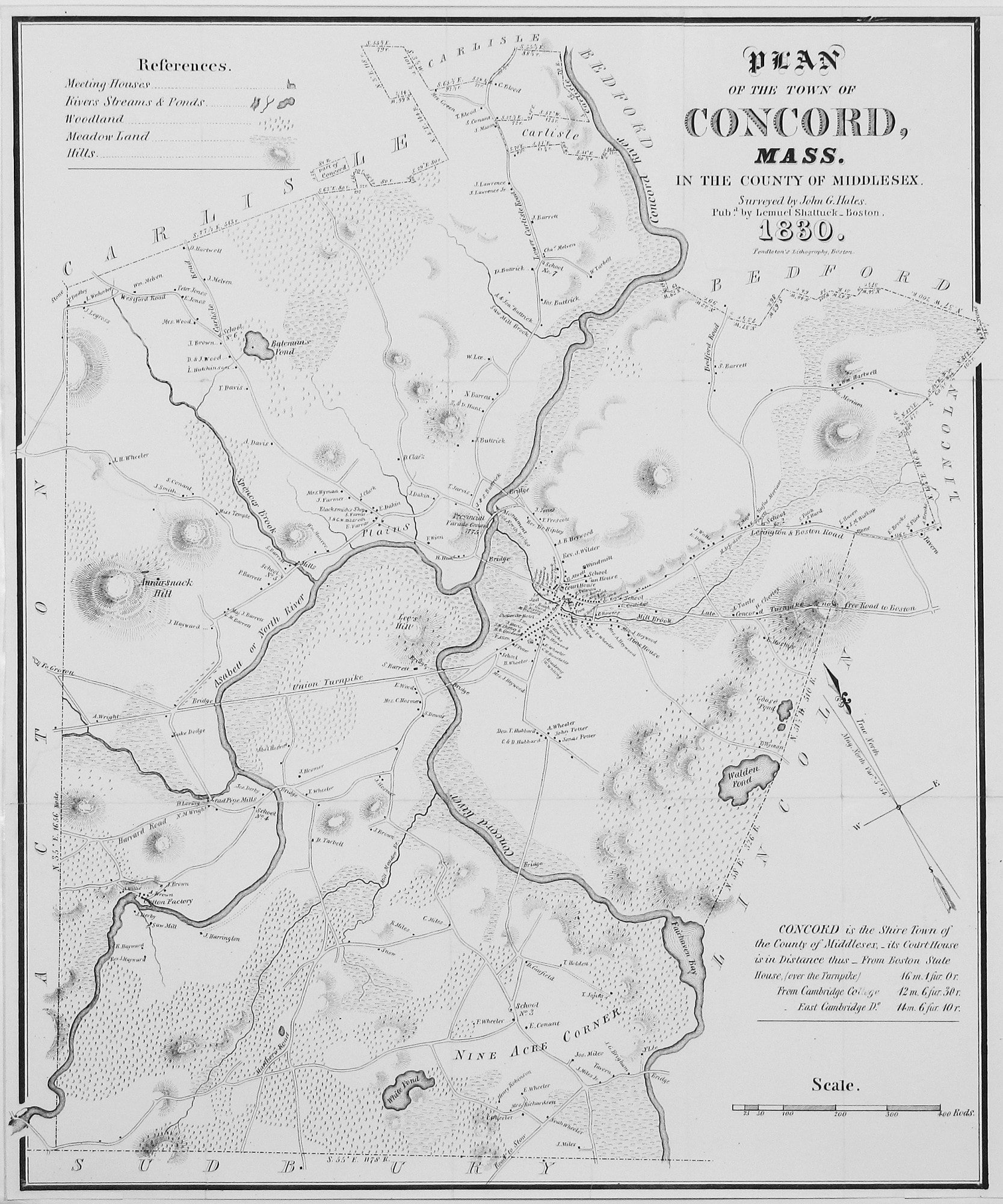 The first published map of Concord Mass Rare Antique Maps