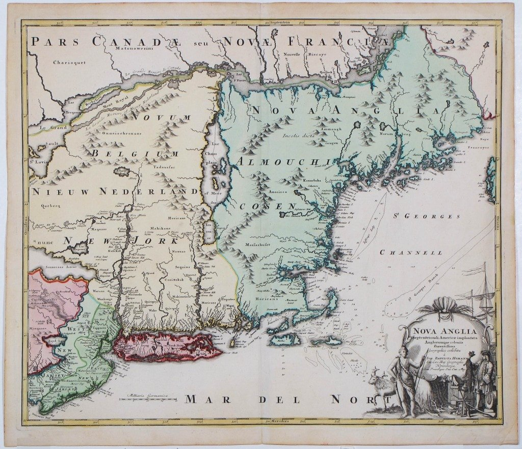 Geographically Intriguing And Decorative Map Of New York And New England