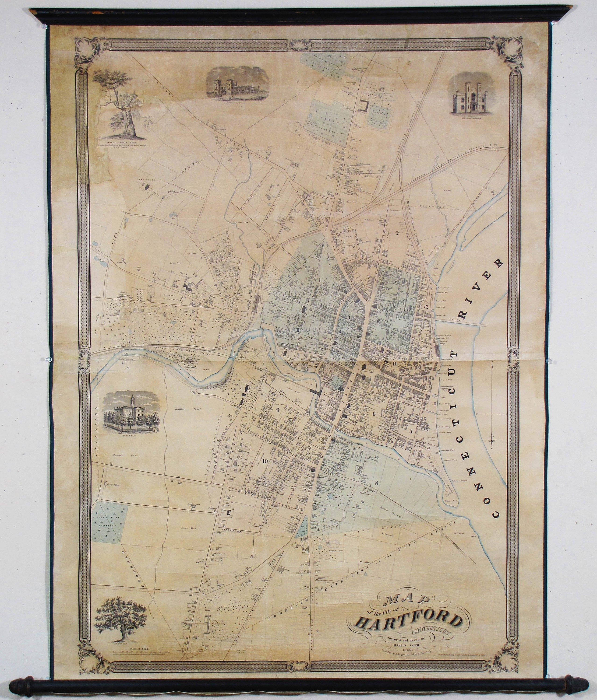 Rare wall map of Hartford, Conn. - Rare & Antique Maps