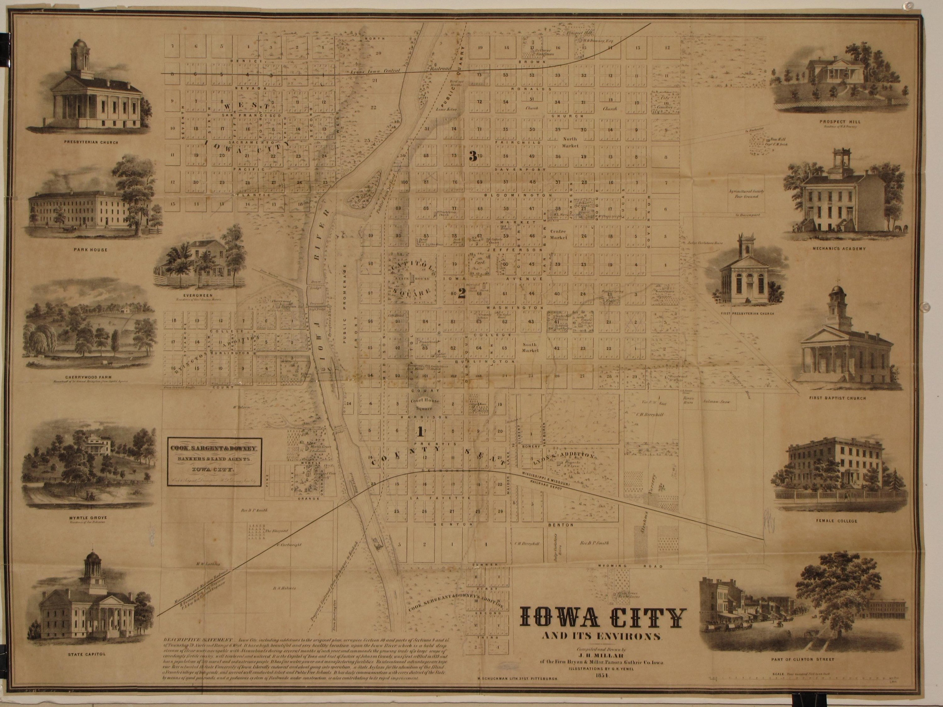 A terrific map of Iowas first state capital Rare Antique Maps