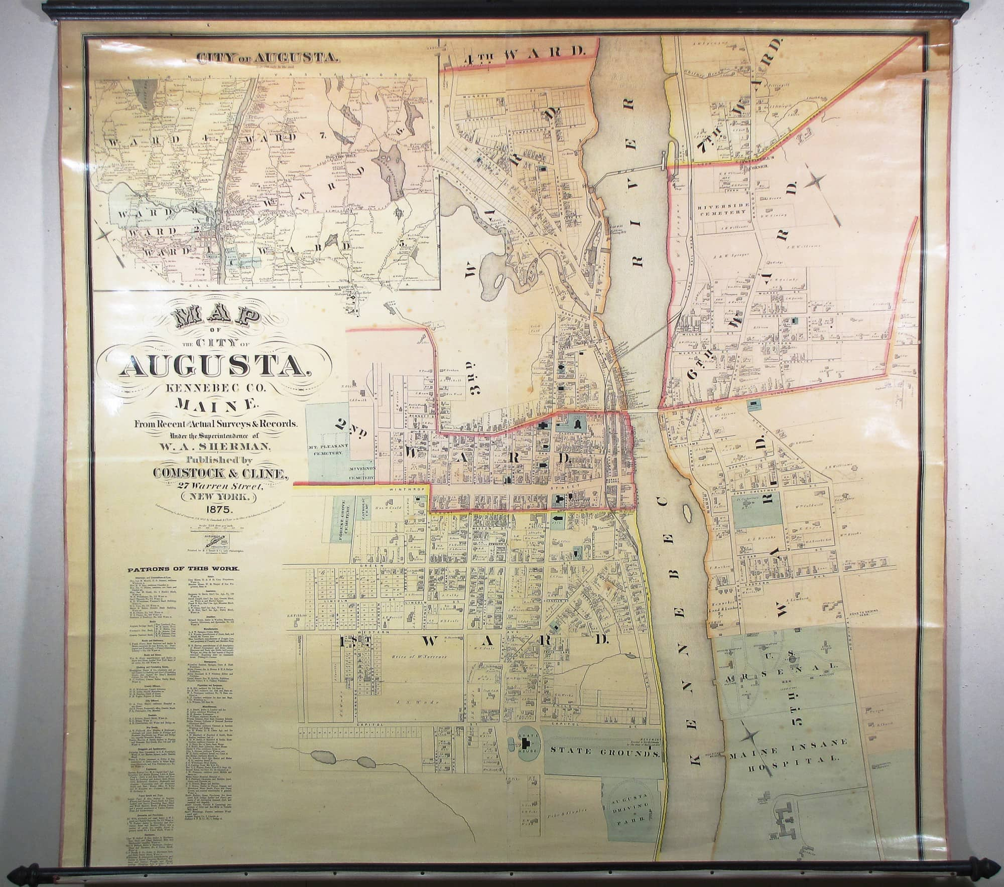 Wall Map Of Augusta Maine Rare Antique Maps
