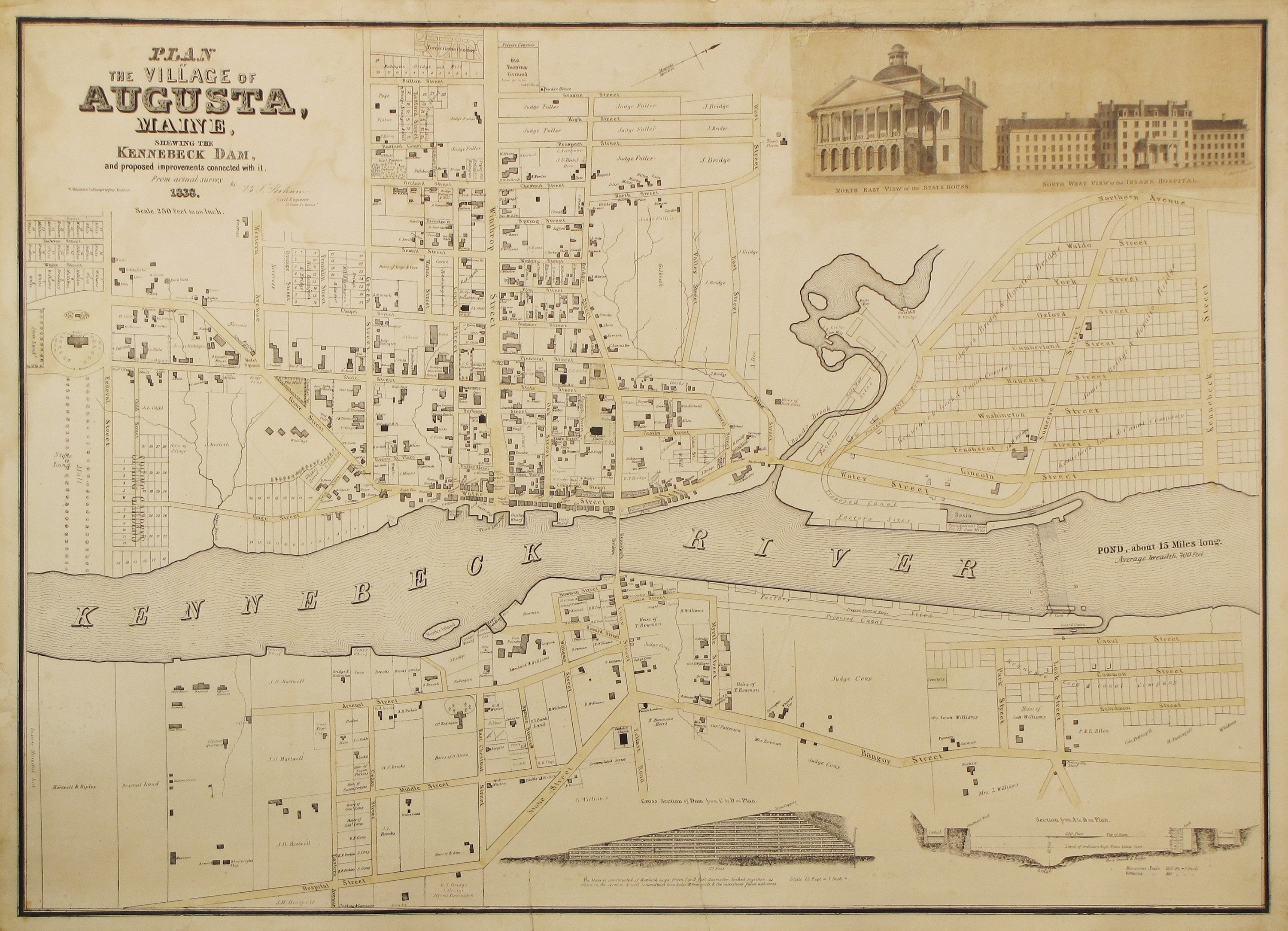 The First Published Plan Of Augusta Maine Rare Antique Maps