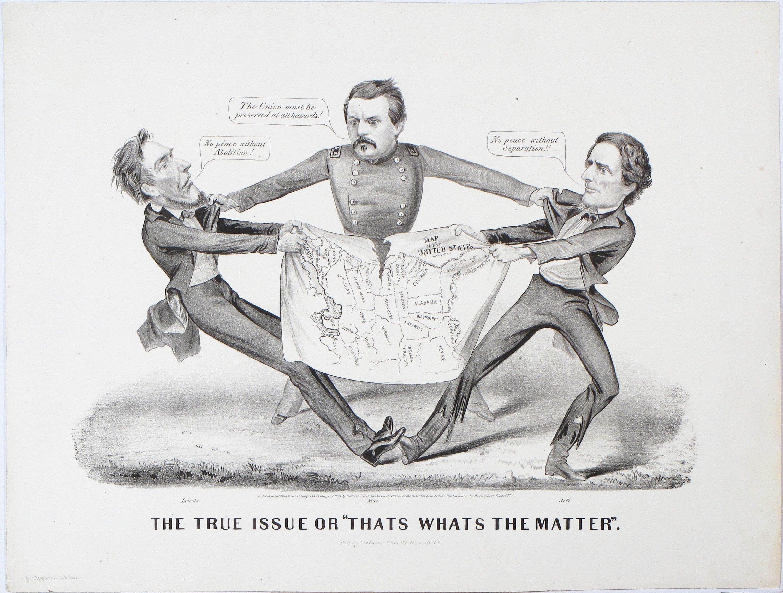 A Terrific Cartographic Cartoon Of The Civil War Rare