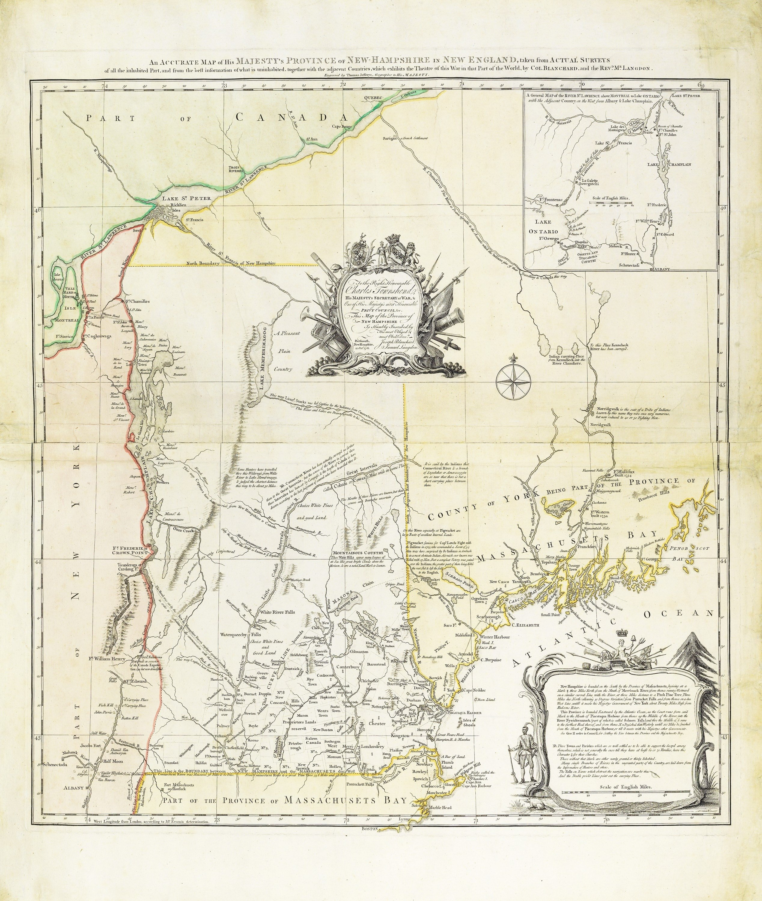 Landmark Map Of New Hampshire Rare Antique Maps - Map of new hampshire