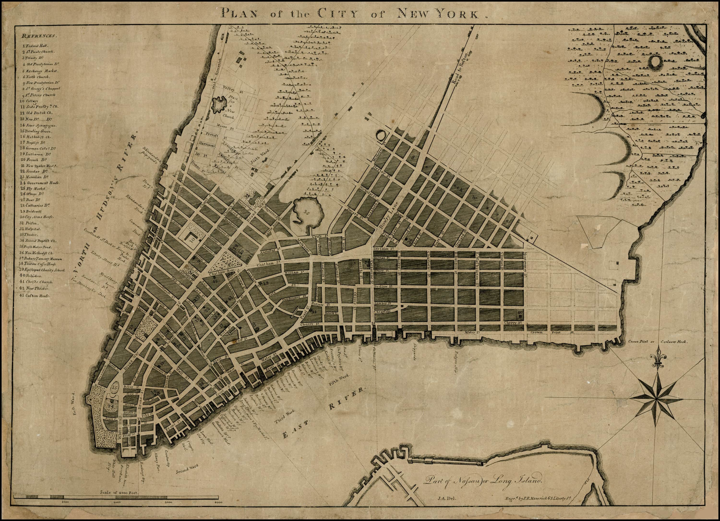 Map Of New York During American Revolution.Rare And Important 18th Century Plan Of New York City Rare