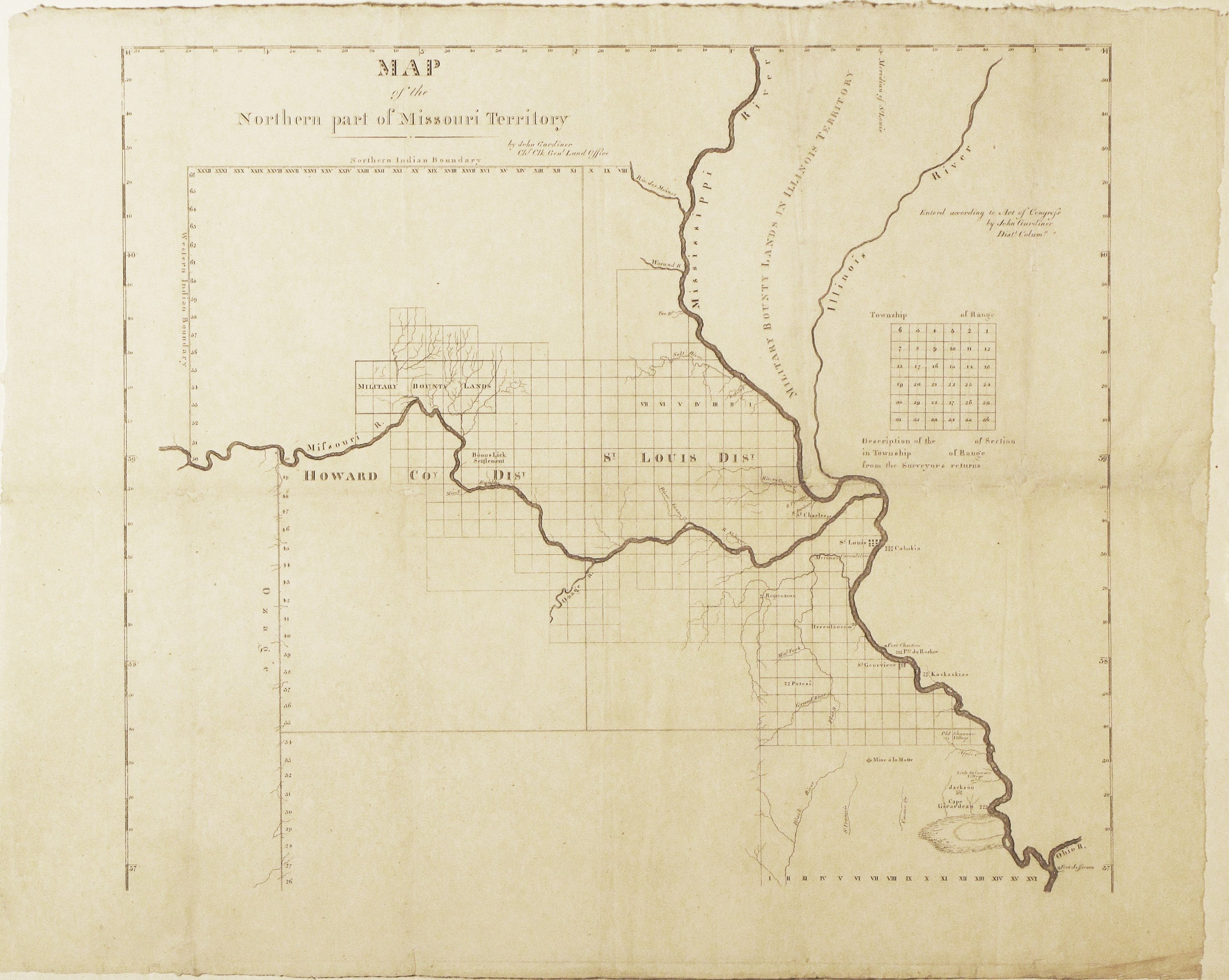 First Survey Of Public Lands In The TransMississippi West Rare - Map of northern missouri