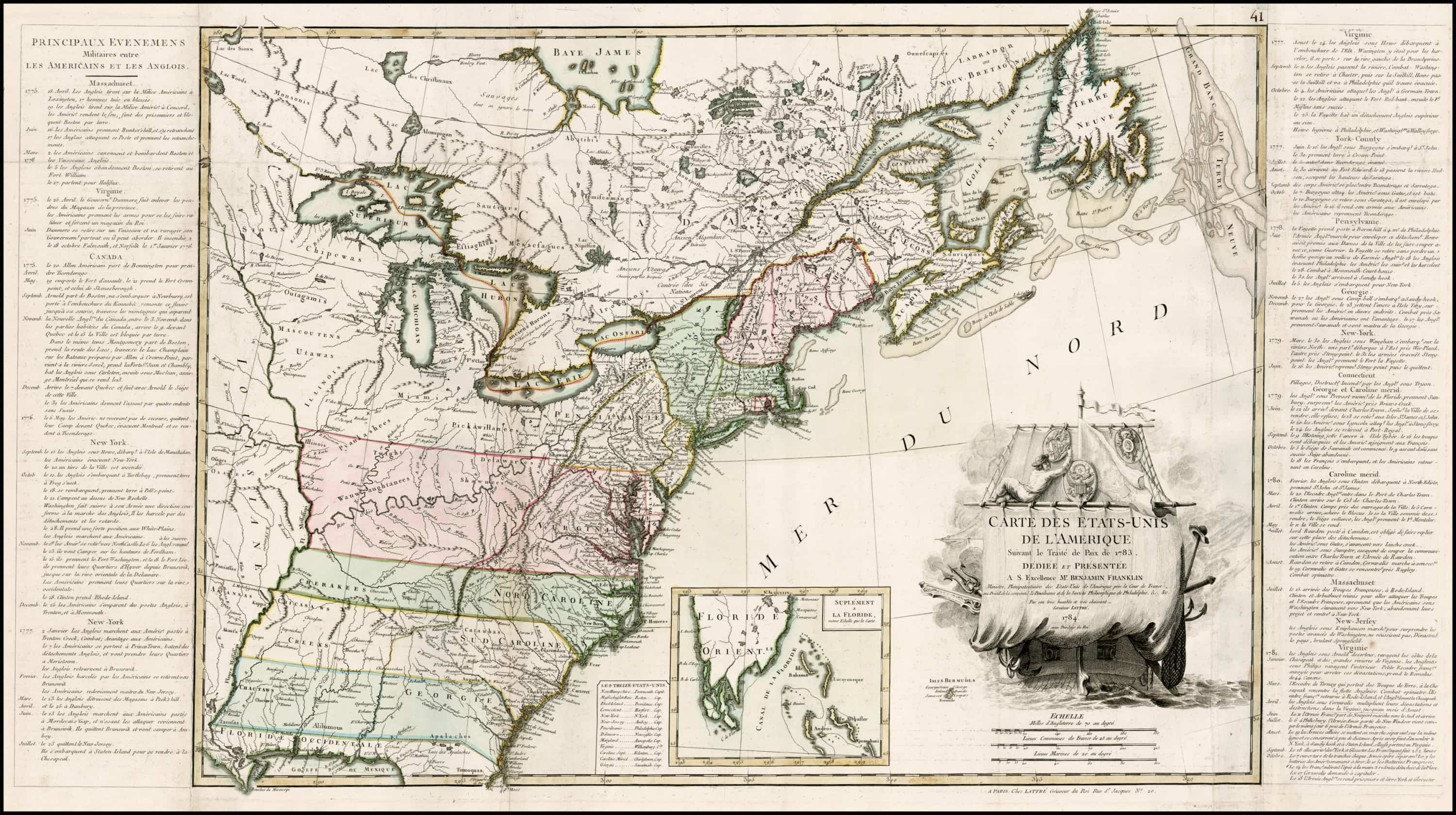 A lovely copy of the first map of the independent United States ...