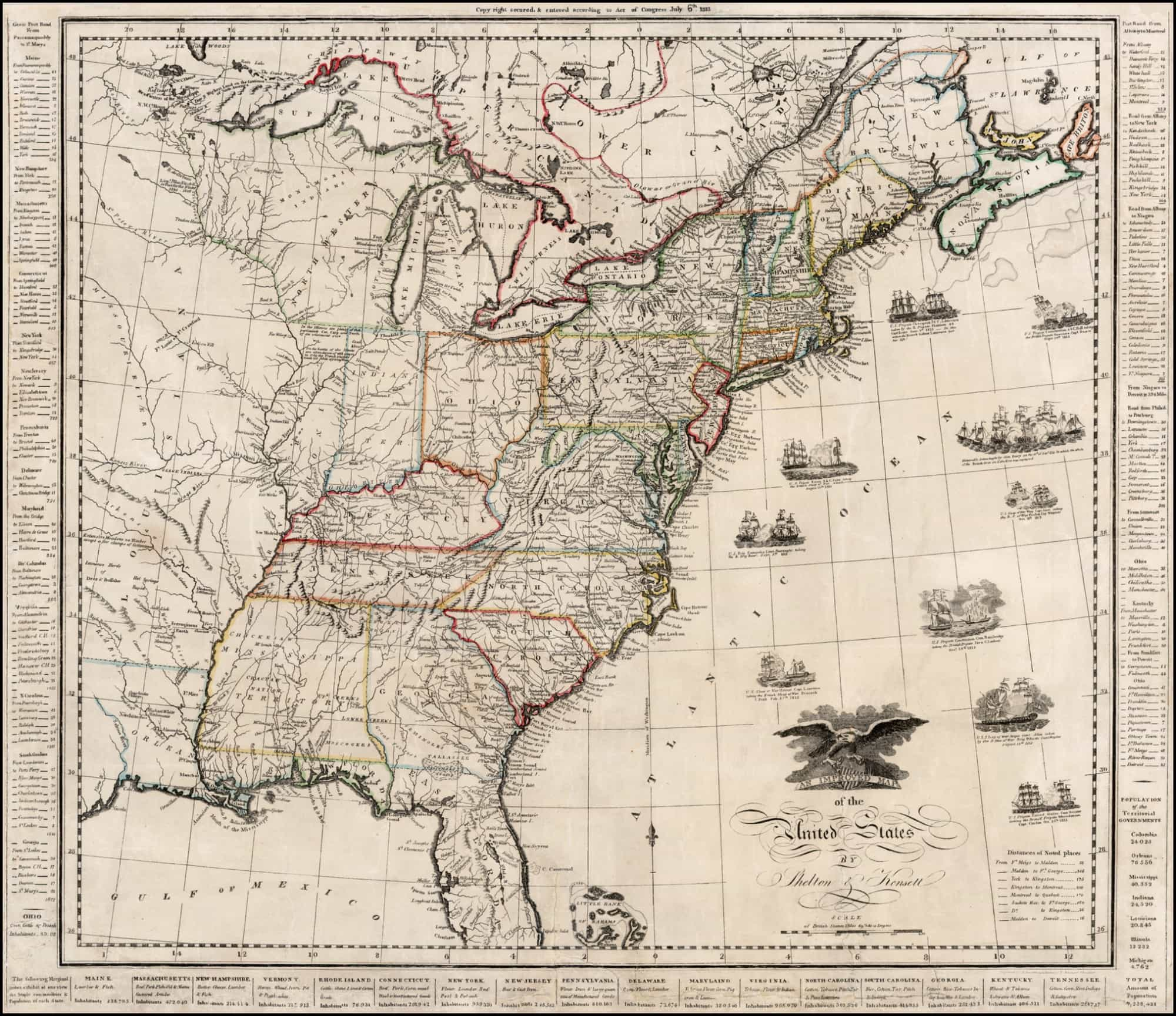 A Scarce War Of 1812 Era Map Of The United States Rare Antique Maps - Us-map-1812