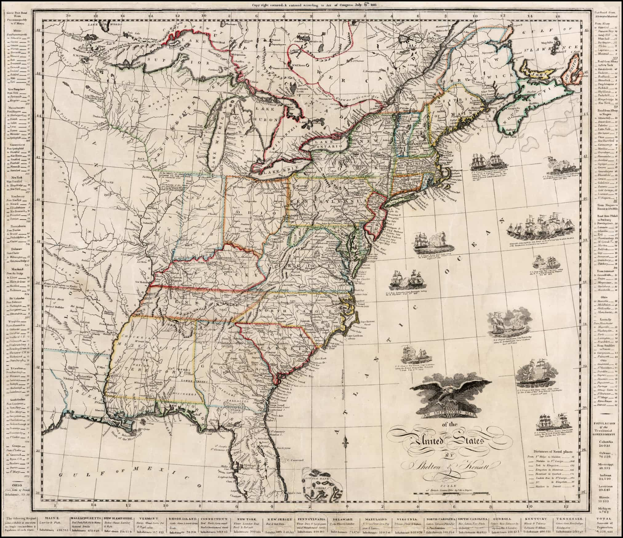 A Scarce War Of 1812 Era Map Of The United States Rare Antique Maps