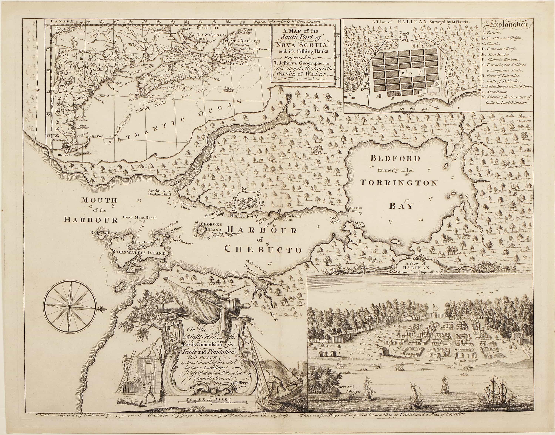 Rare map documenting the founding of Halifax Nova Scotia Rare