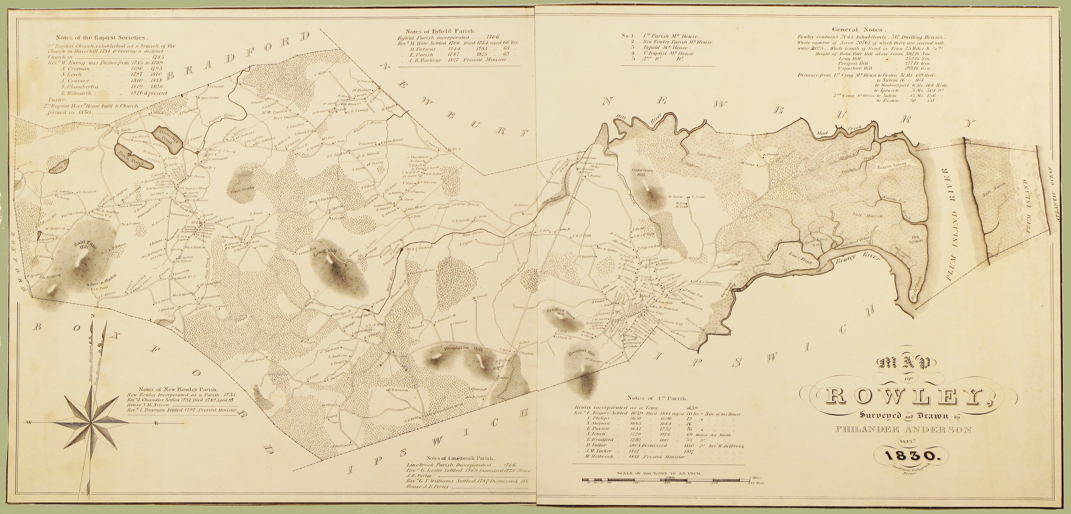 The First Printed Map Of Rowley Mass Rare Antique Maps - Mass map