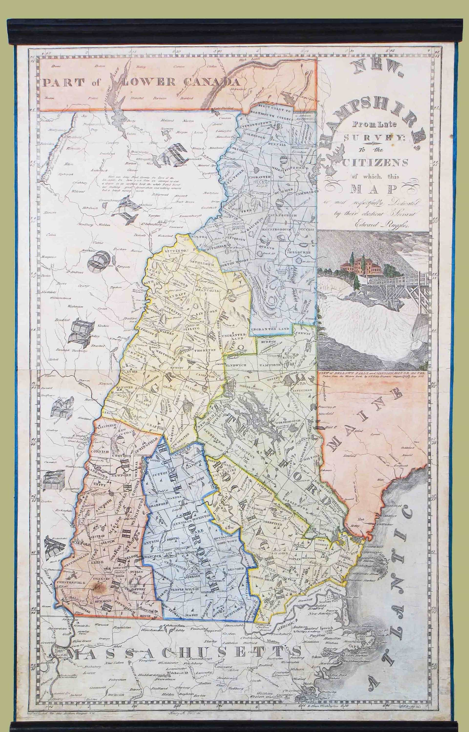 Charming piracy of the Carrigain map of New Hampshire - Rare ...