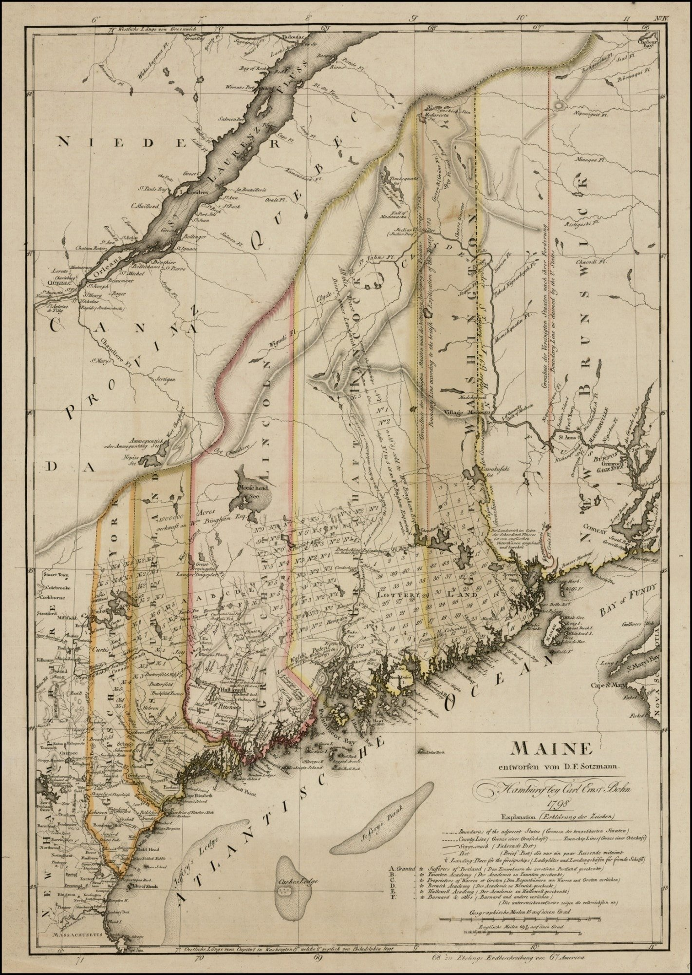 Undoubtedly One Of The Finest Early Maps Of Maine Thompson Rare - Antique map of maine