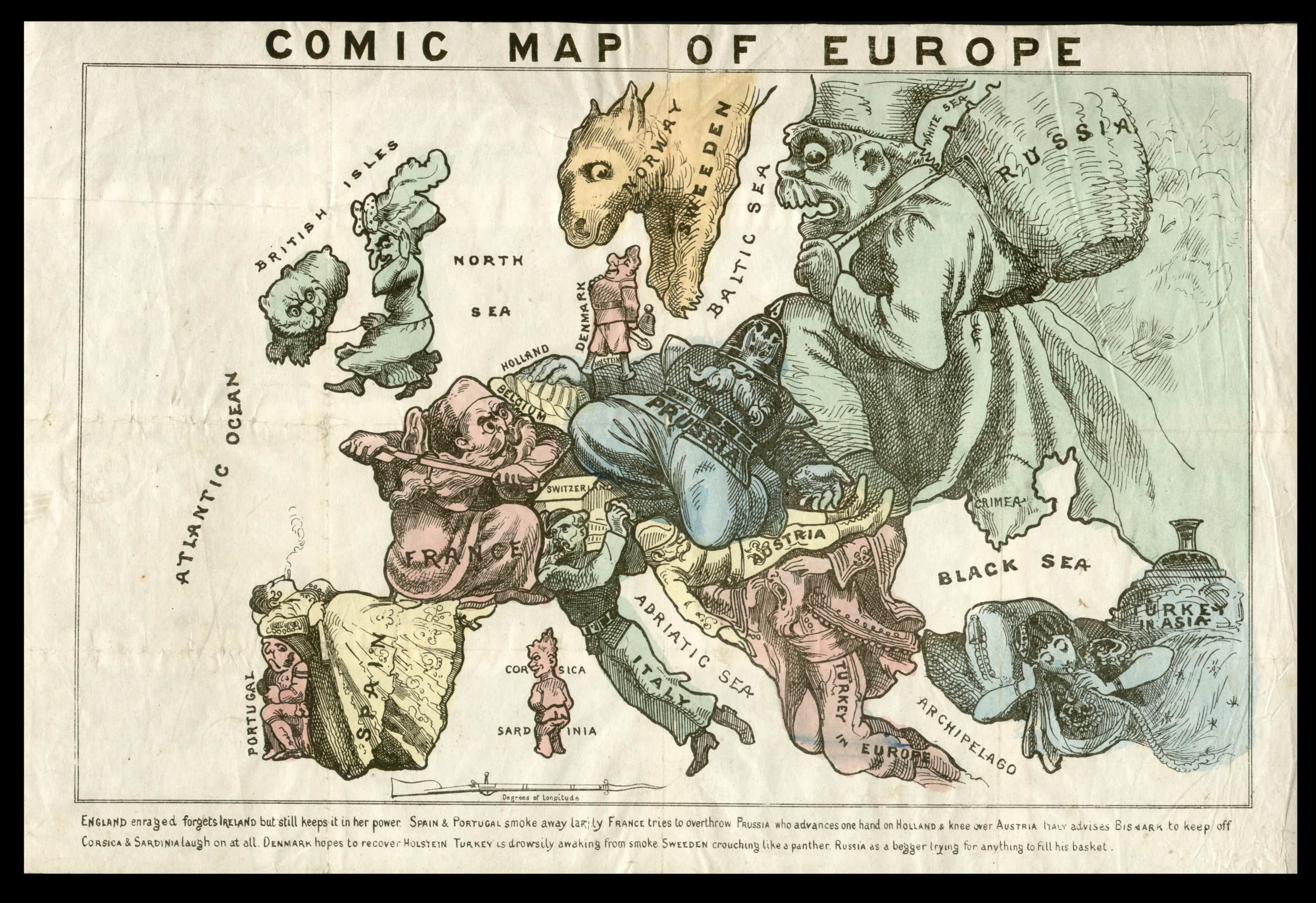 biting caricature map of europe