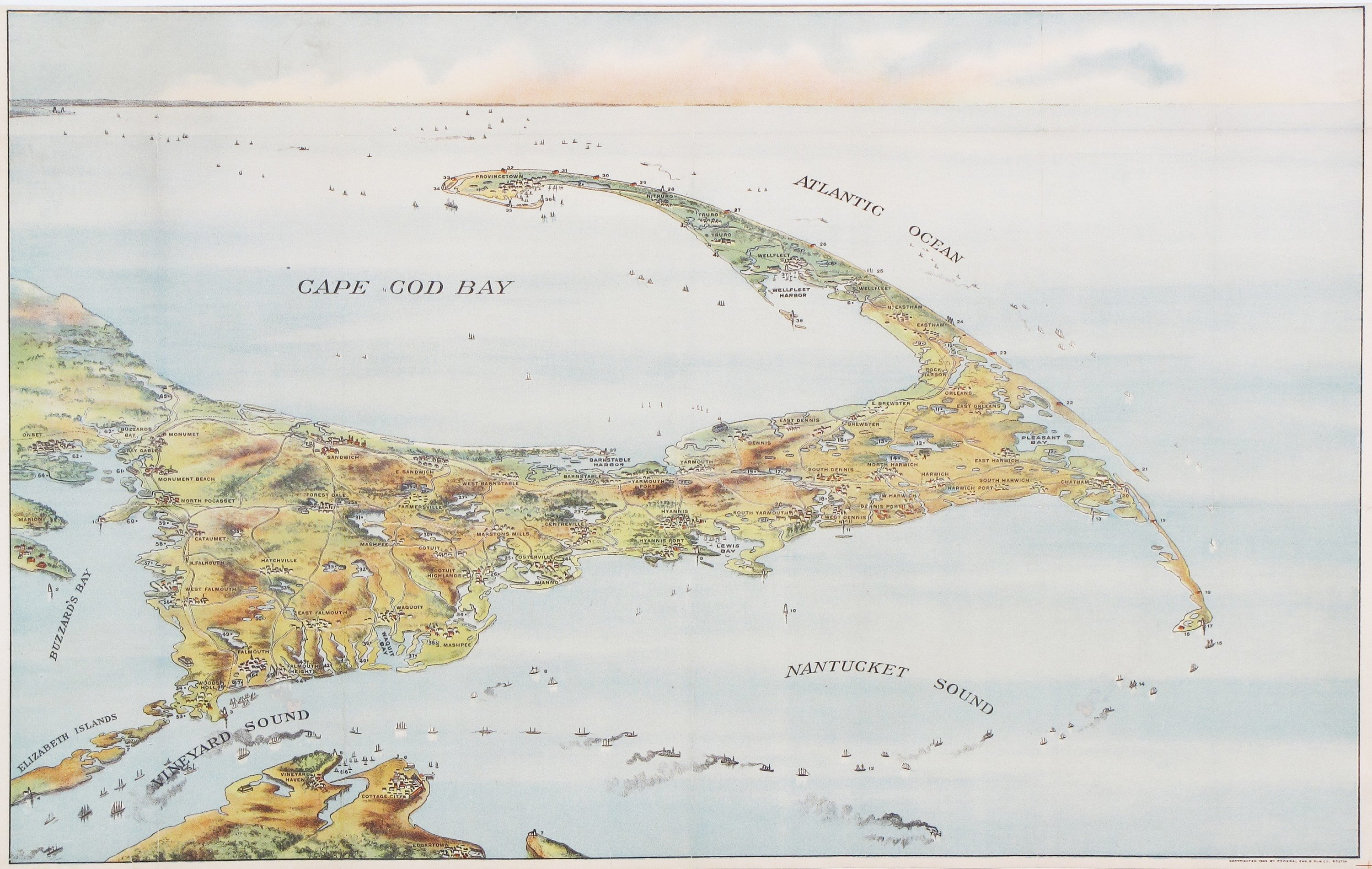 Charming birds-eye view of Cape Cod - Rare & Antique Maps on boston harbor map, mbta commuter rail boston map, suffolk county boston map, worcester boston map, long island boston map, alabama boston map, needham boston map, columbia boston map, fort point channel boston map, deer island boston map, braintree boston map, atlantic ocean boston map, nantucket boston map, tennessee boston map, massachusetts boston map, plymouth boston map, shrewsbury boston map, medford boston map, phoenix boston map, pittsburgh boston map,