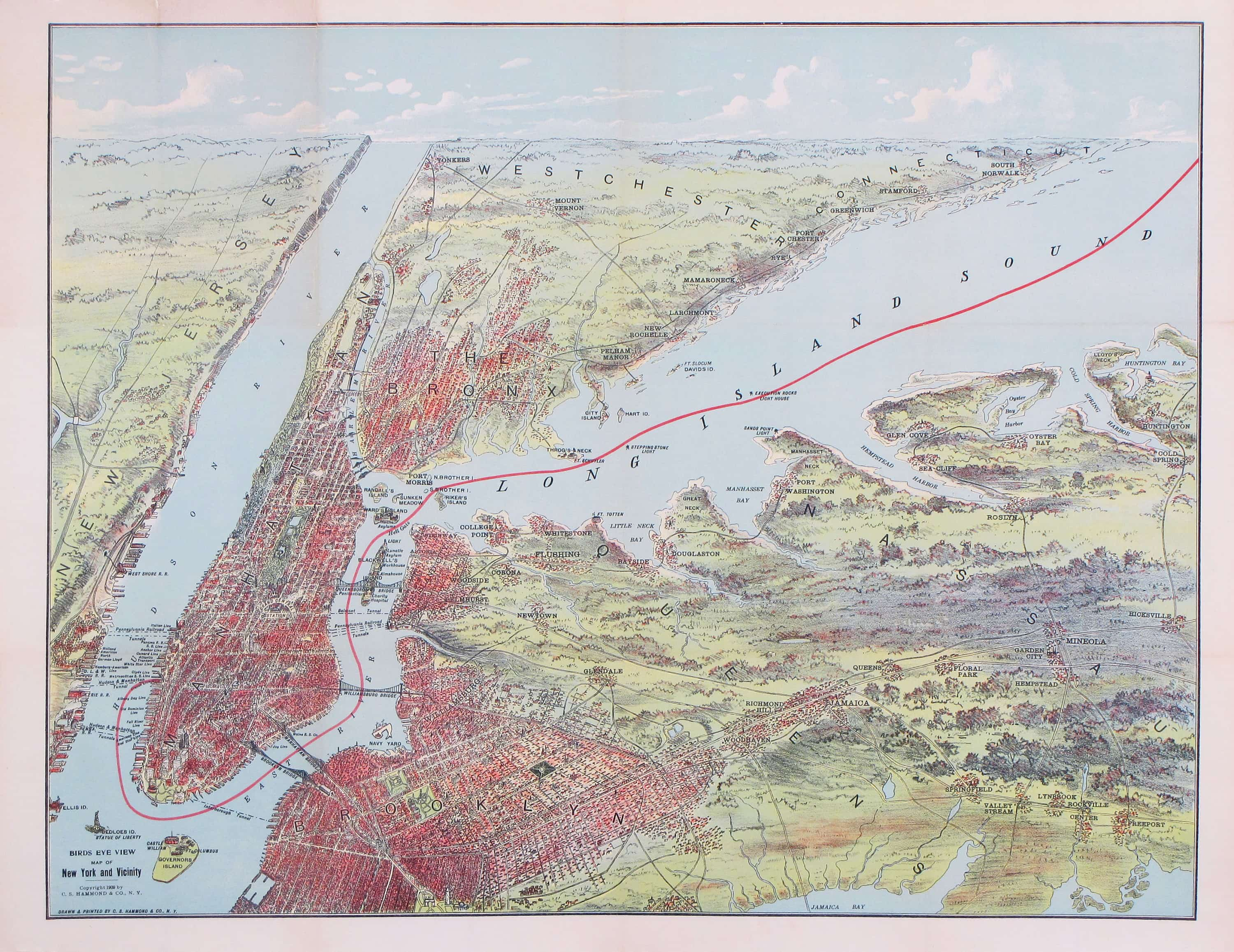colorful bird s eye view of new york city rare antique maps