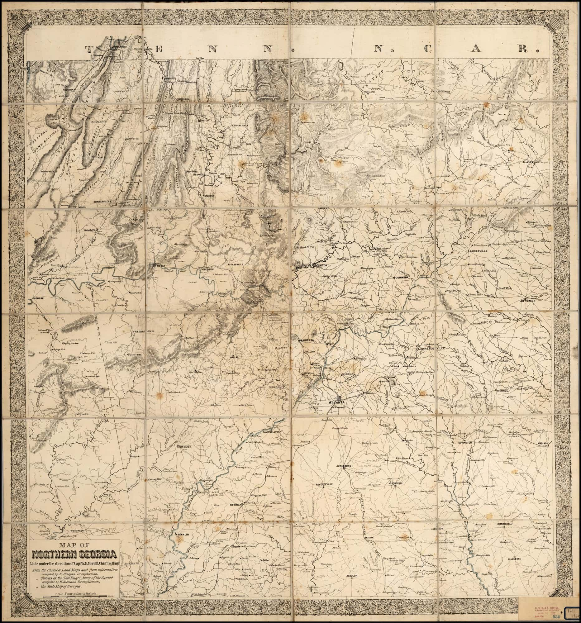 Map Of Georgia 1865.One Of The Most Important Printed Maps Of The Civil War Rare