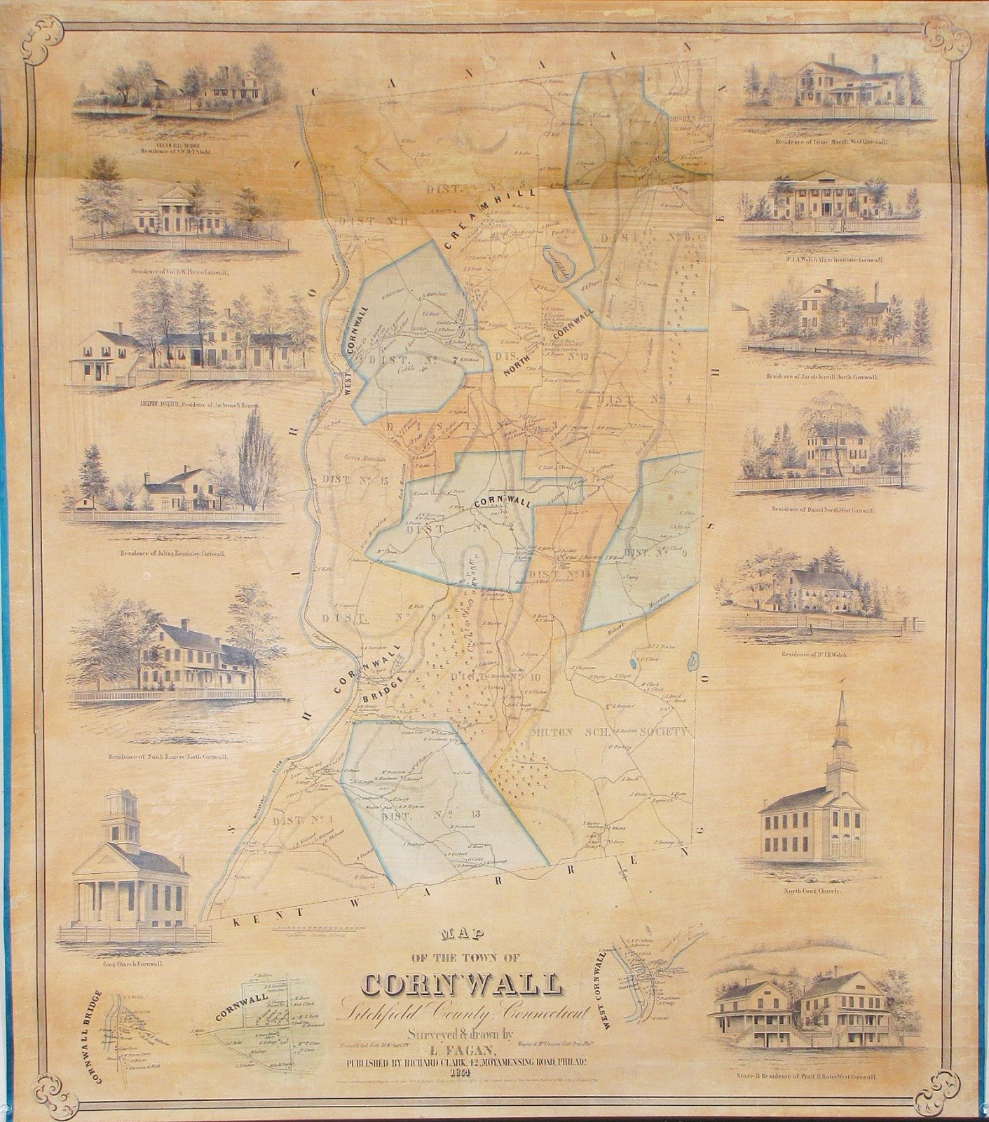 The first printed map of Cornwall, Conn. - Rare & Antique Maps