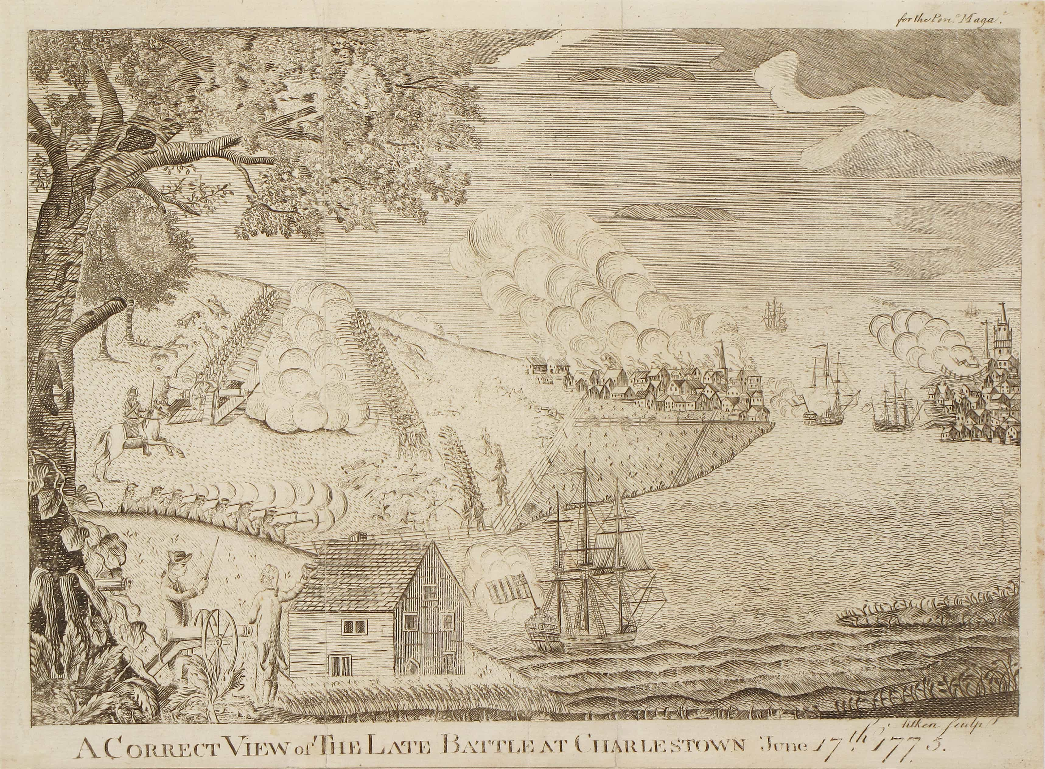 Rare and dramatic view of the Battle of Bunker Hill - Rare ...